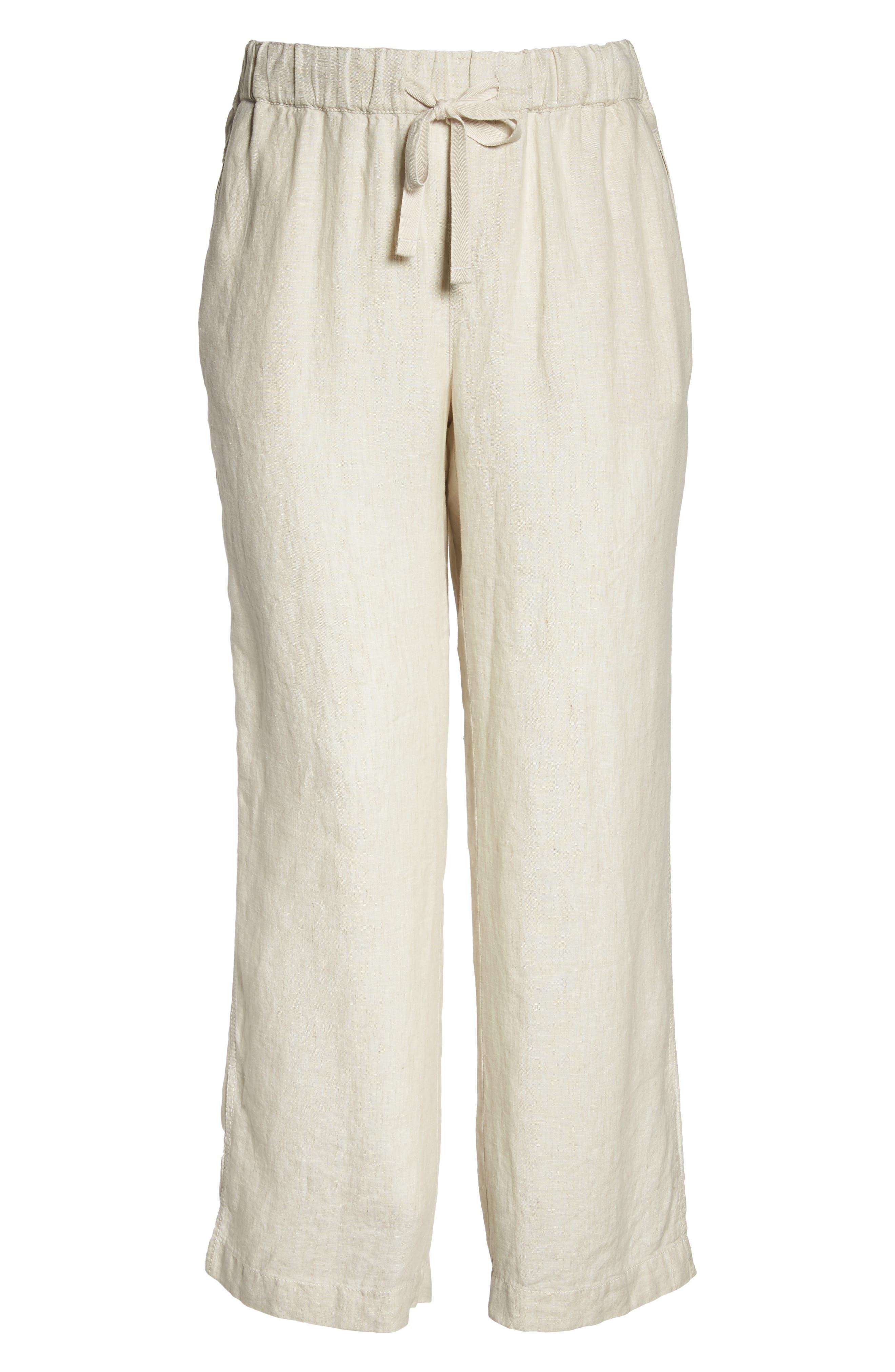 Linen Track Pants,                             Alternate thumbnail 6, color,                             Flax