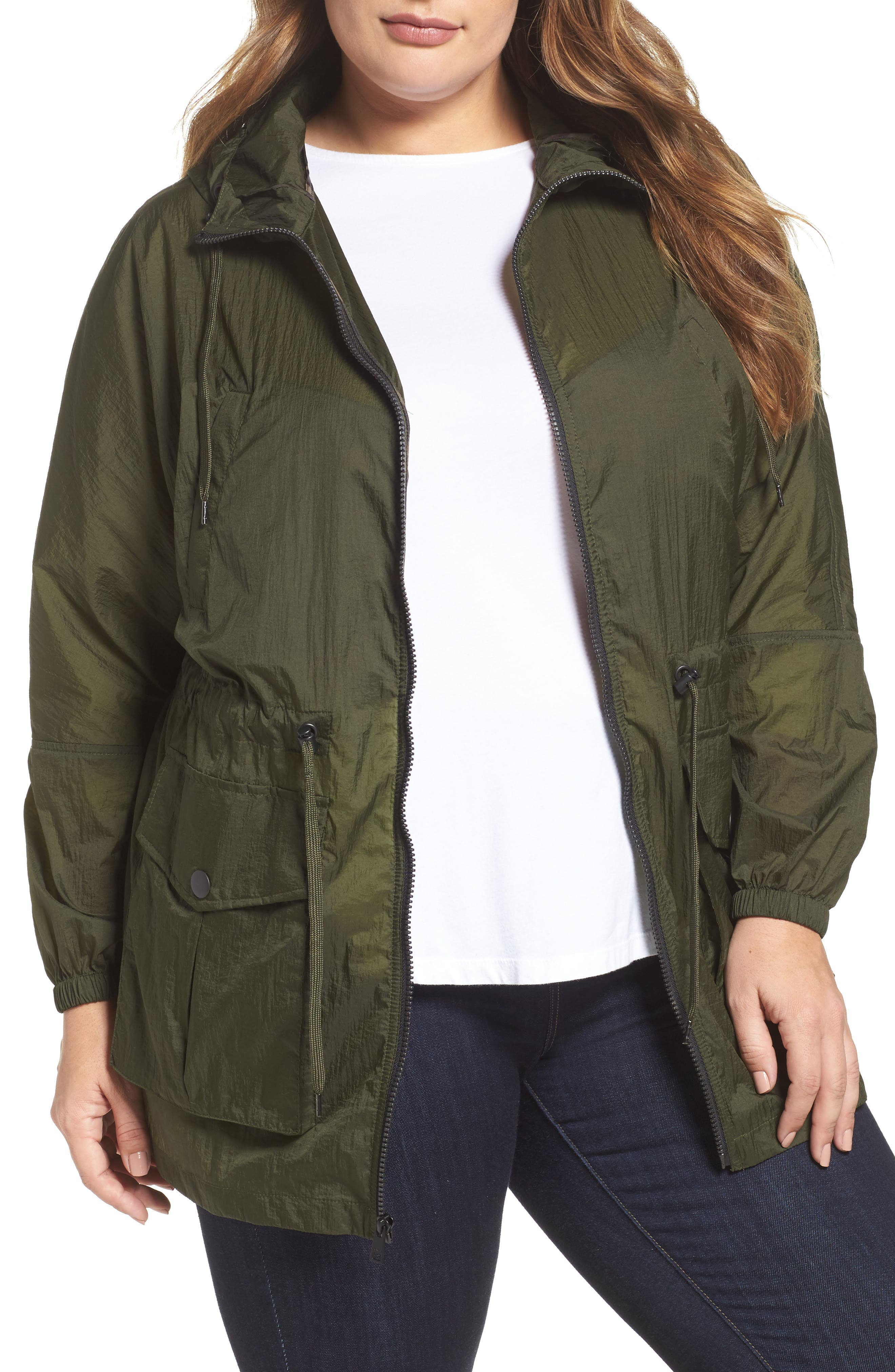 Hooded Windbreaker,                         Main,                         color, Army Green