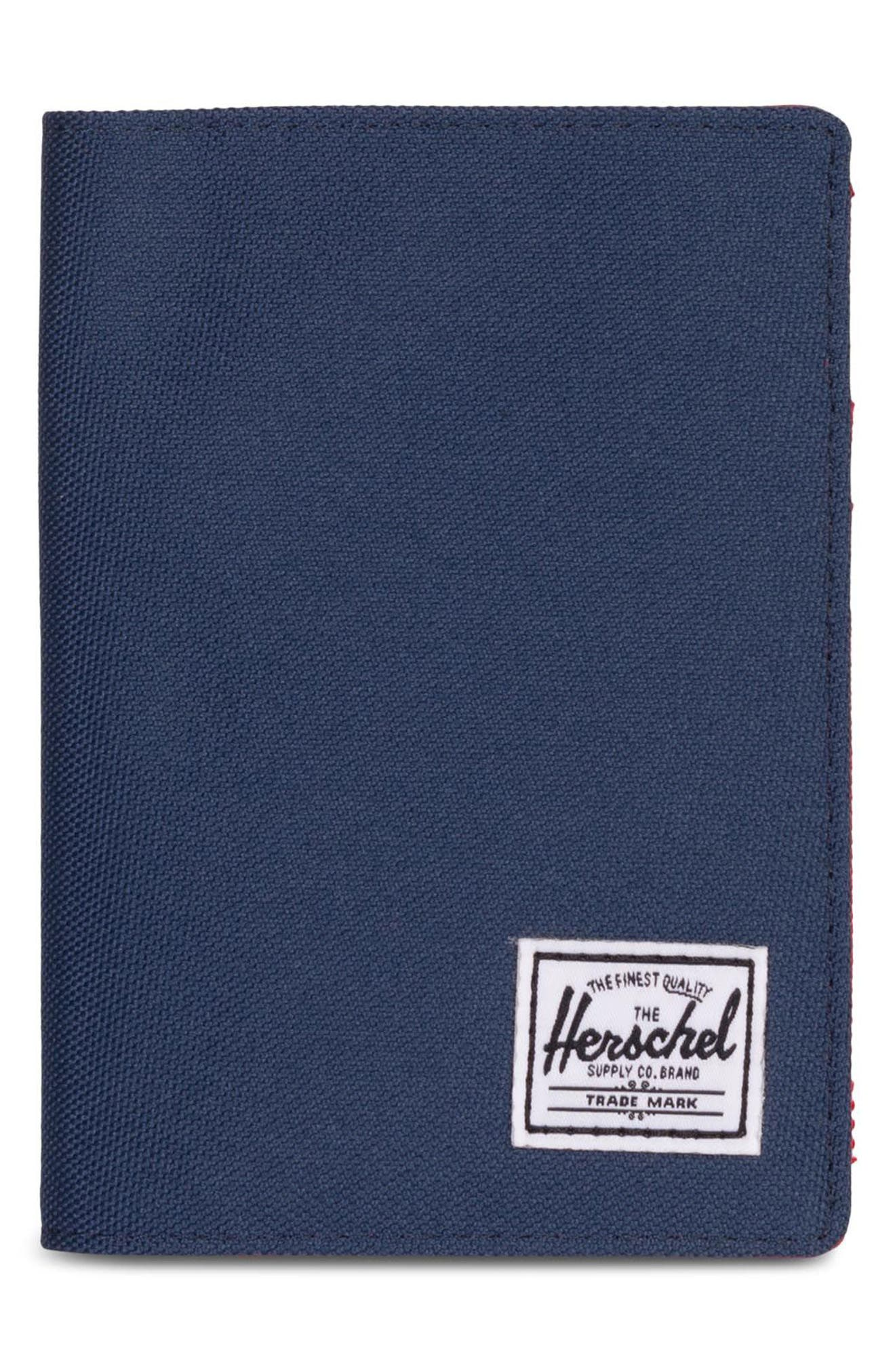 'Raynor' Passport Holder,                             Main thumbnail 1, color,                             Navy/ Red