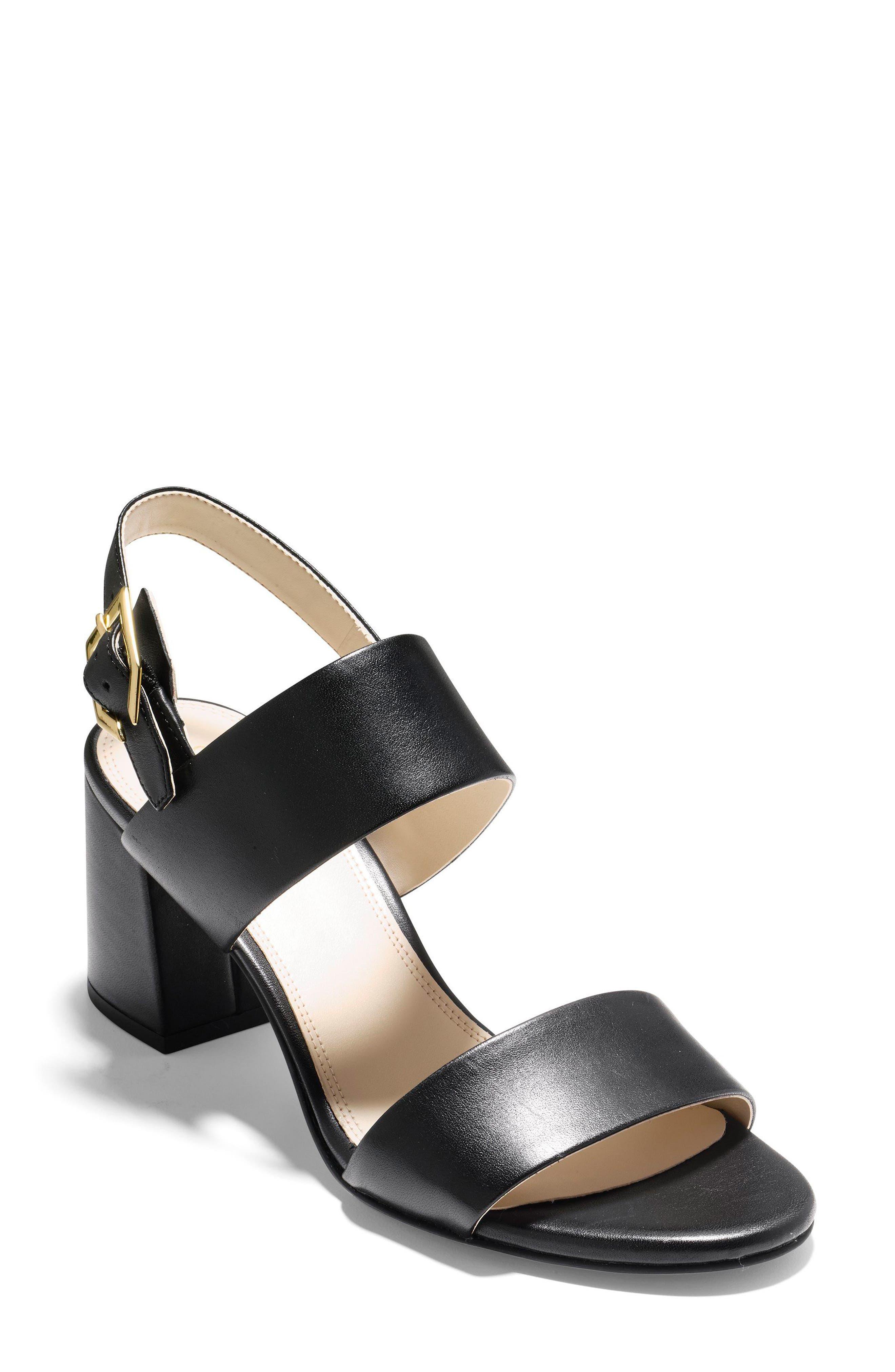 Avani Block Heel Sandal,                             Main thumbnail 1, color,                             Black Leather