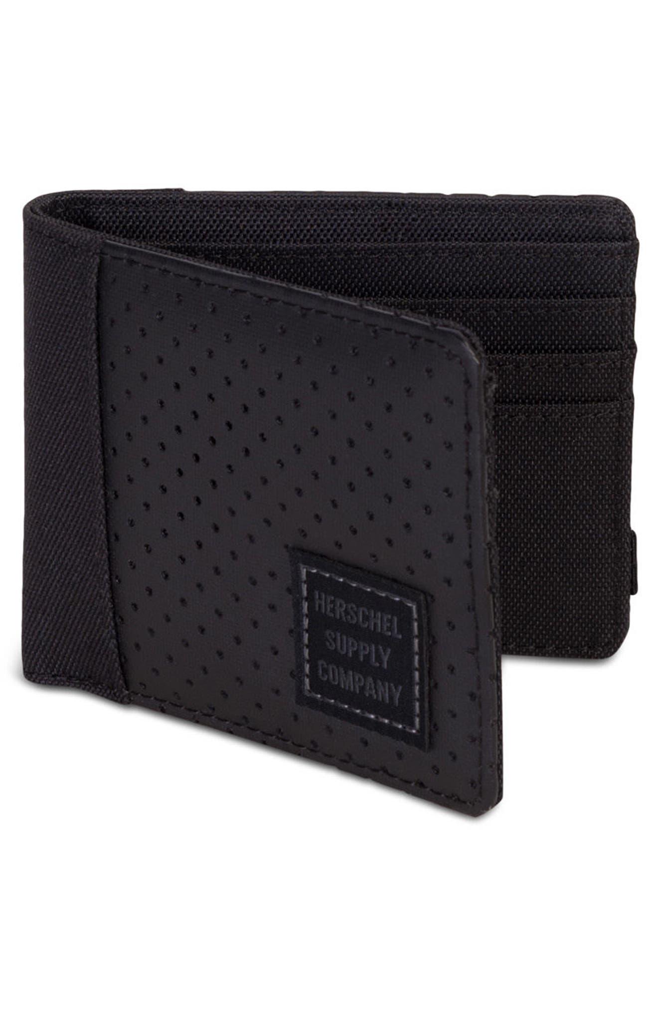Edward Aspect Perforated Wallet,                             Alternate thumbnail 3, color,                             Black