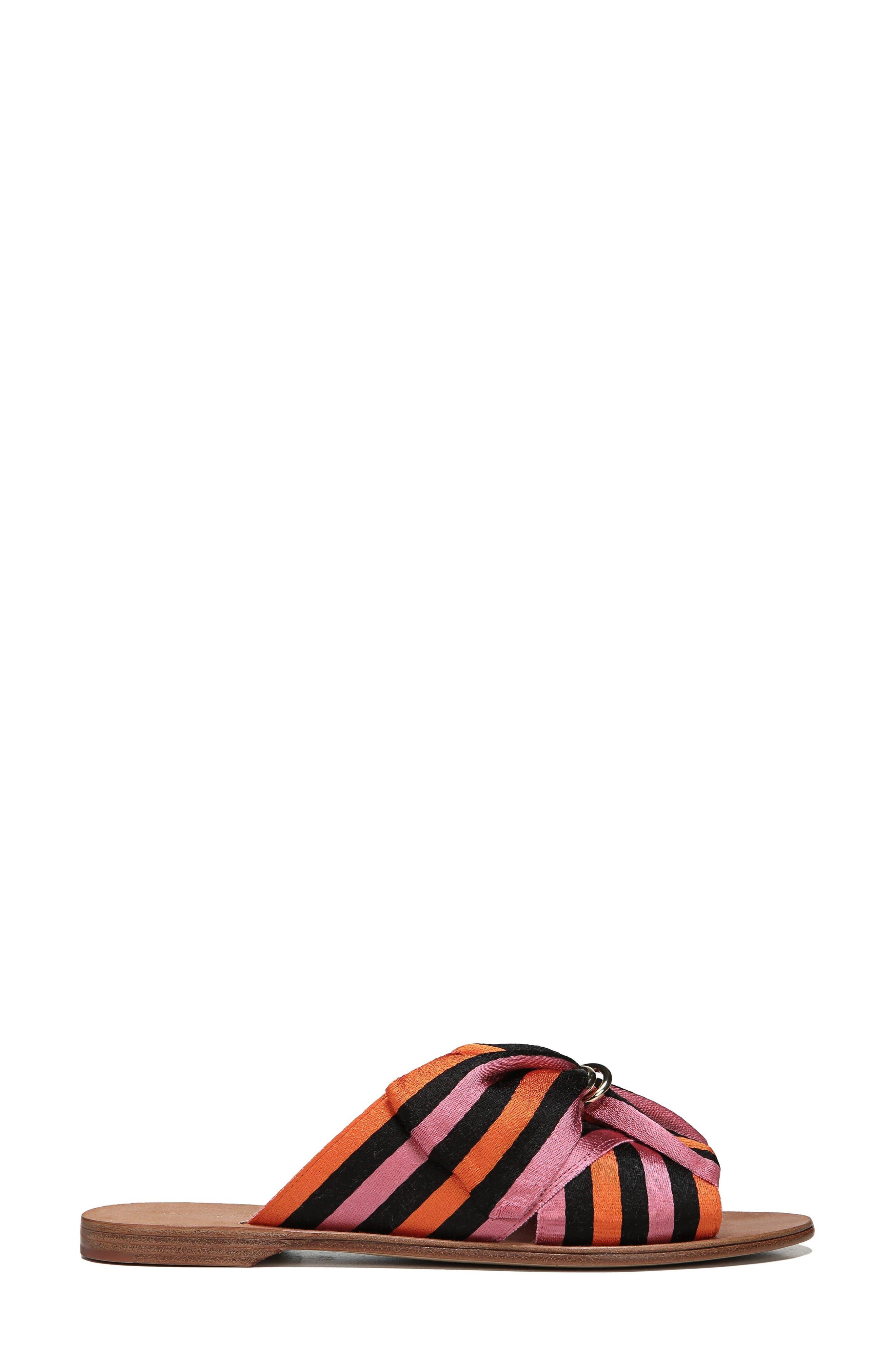 Bella Asymmetrical Slide Sandal,                             Alternate thumbnail 3, color,                             Rose Multi