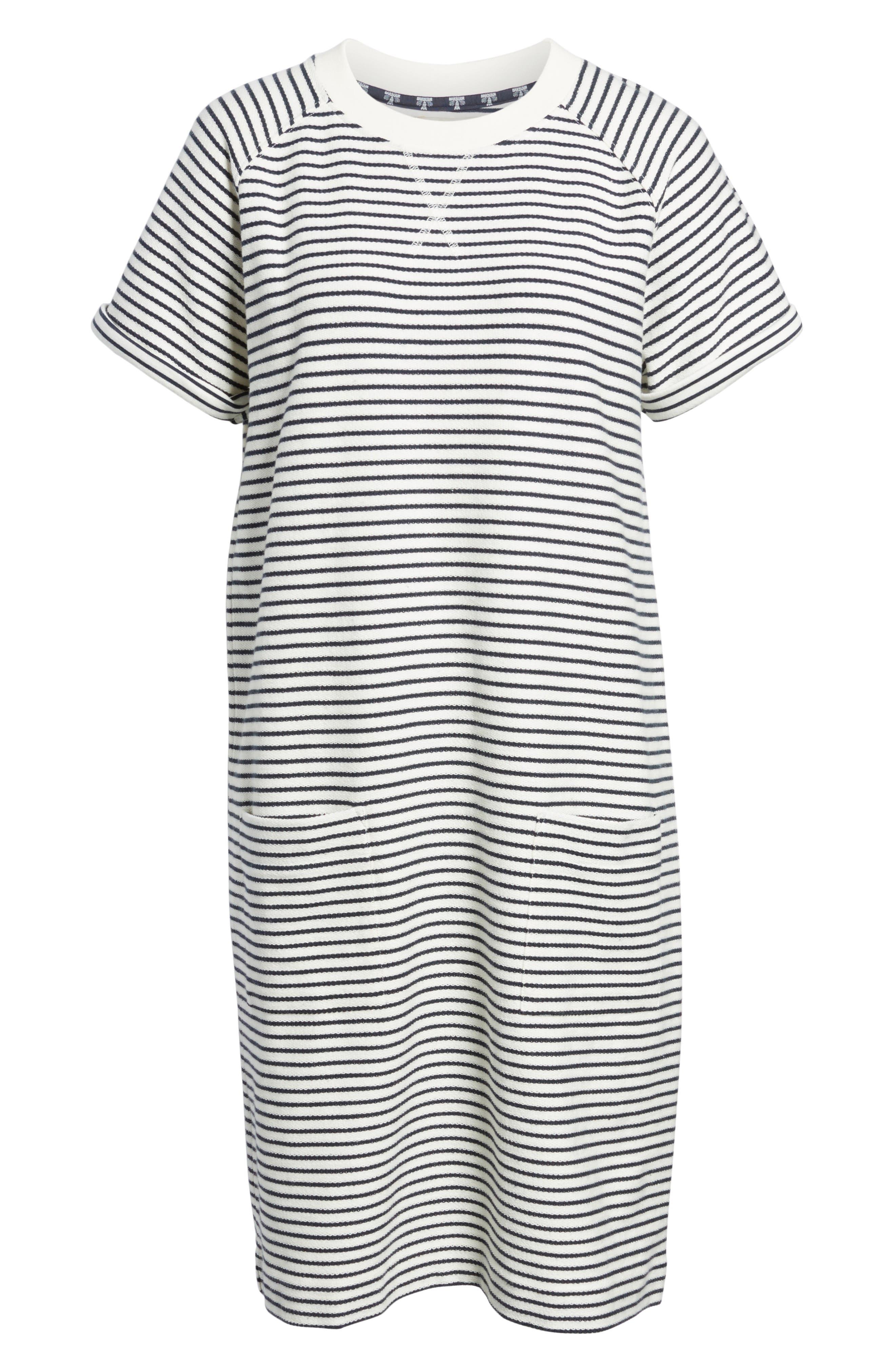 Monreith Stripe Shift Dress,                             Alternate thumbnail 6, color,                             White/ Navy