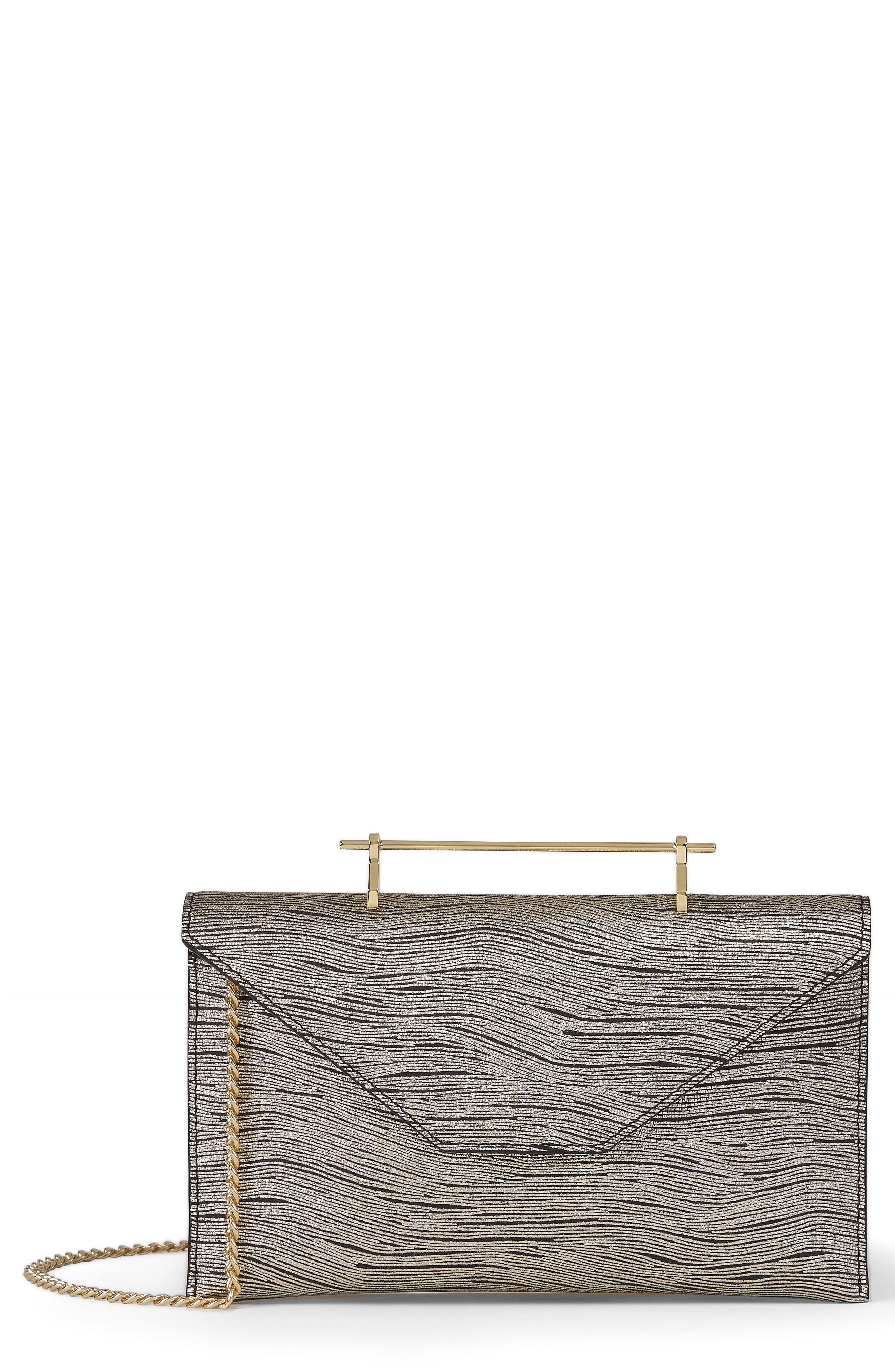 Annabelle Metallic Calfskin Leather Clutch,                         Main,                         color, Metallic Wave Gold