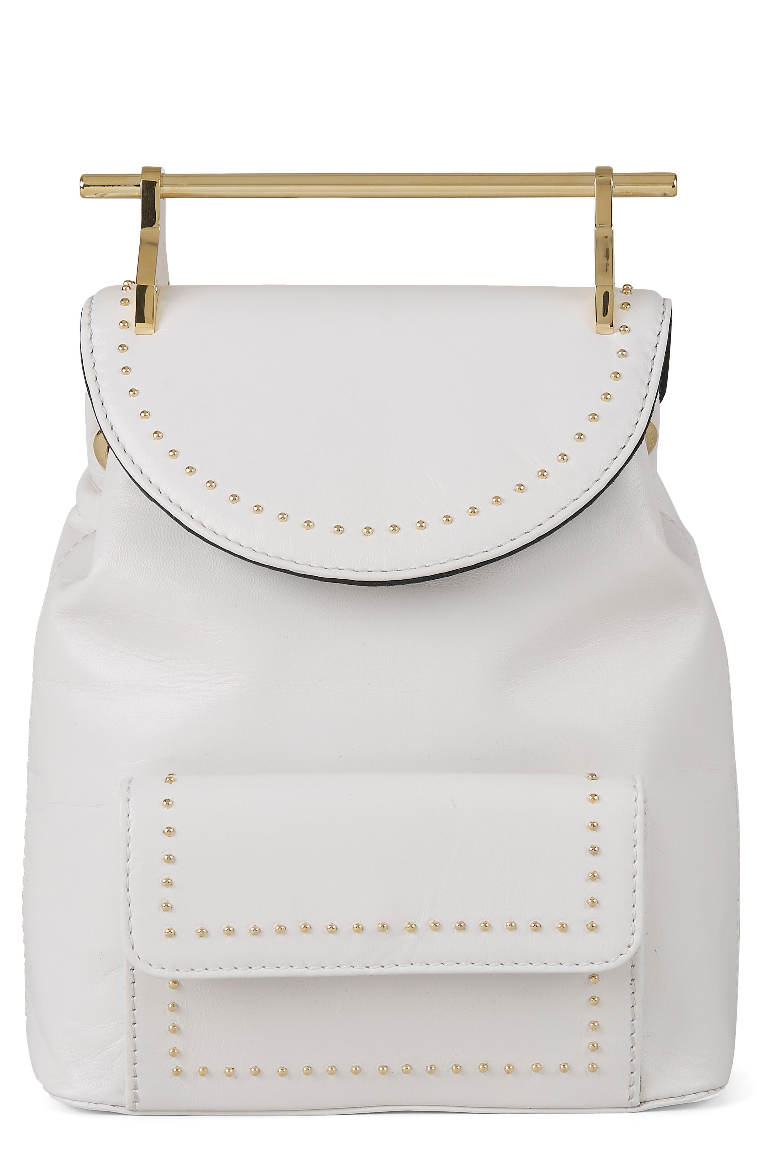 Mini Calfskin Leather Backpack,                             Main thumbnail 1, color,                             Studded White/ Gold