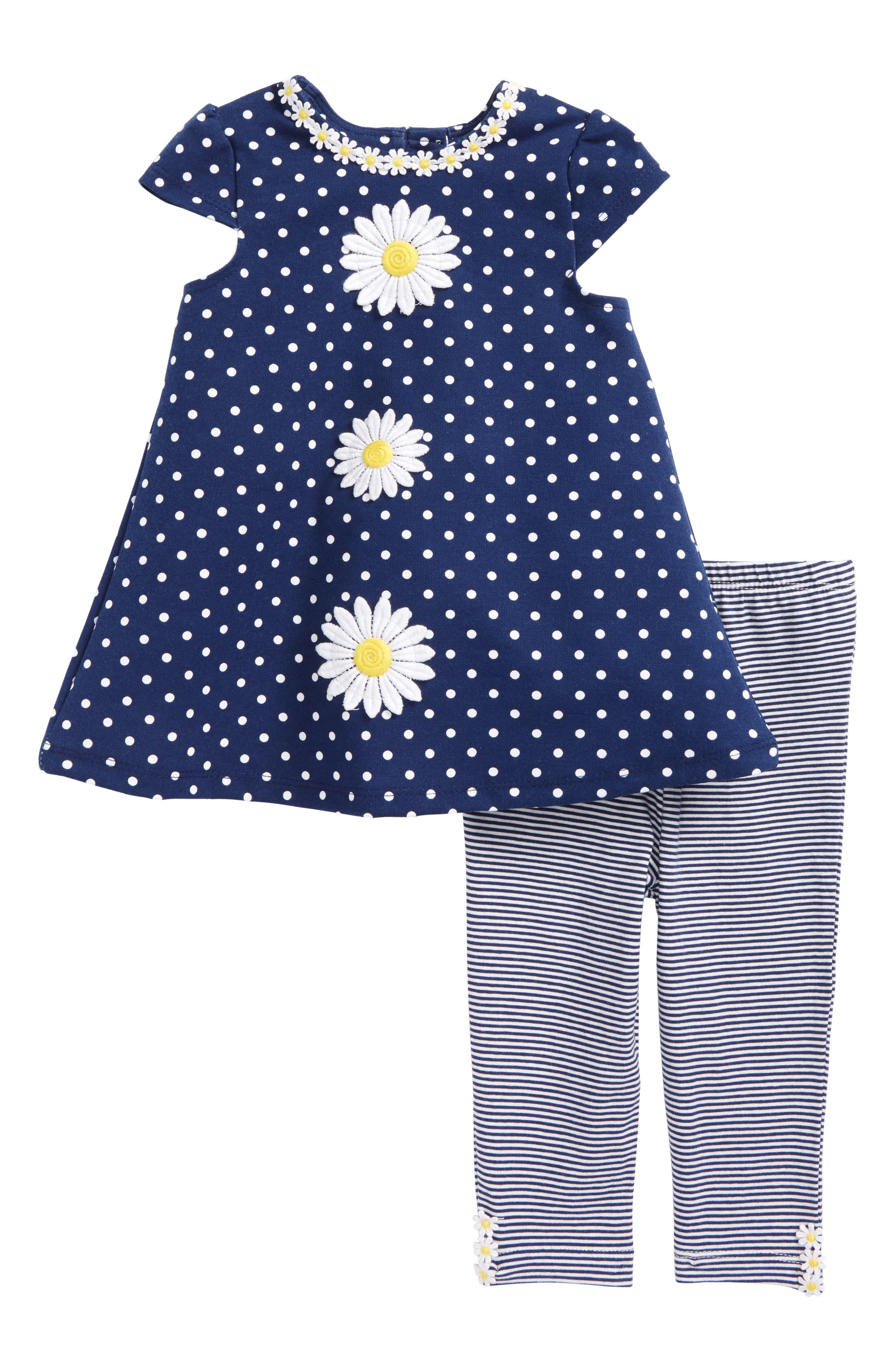 Daisy Polka Dot Dress & Stripe Leggings Set,                             Main thumbnail 1, color,                             Navy