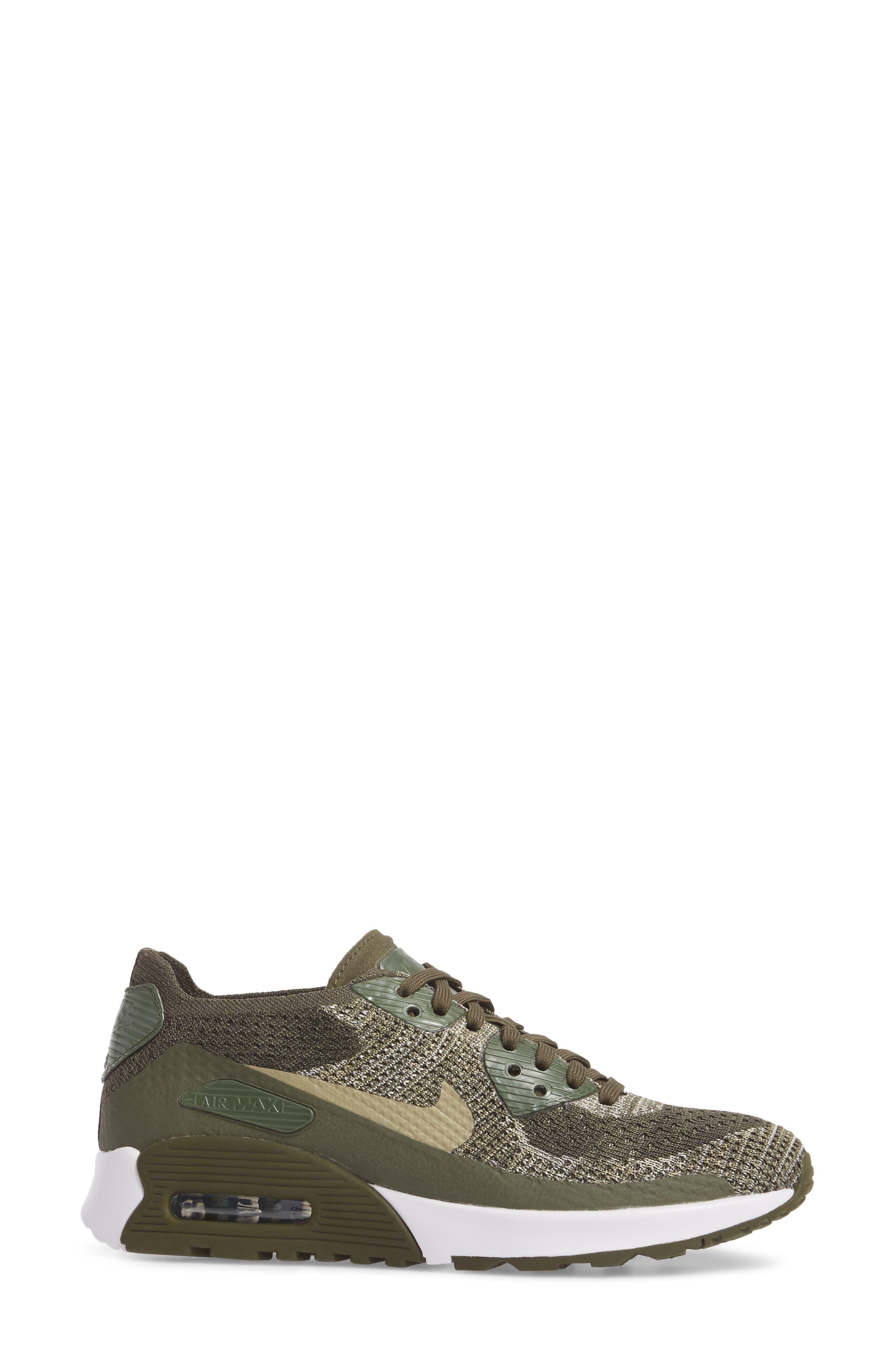 Air Max 90 Flyknit Ultra 2.0 Sneaker,                             Alternate thumbnail 3, color,                             Cargo Khaki/ Neutral Olive