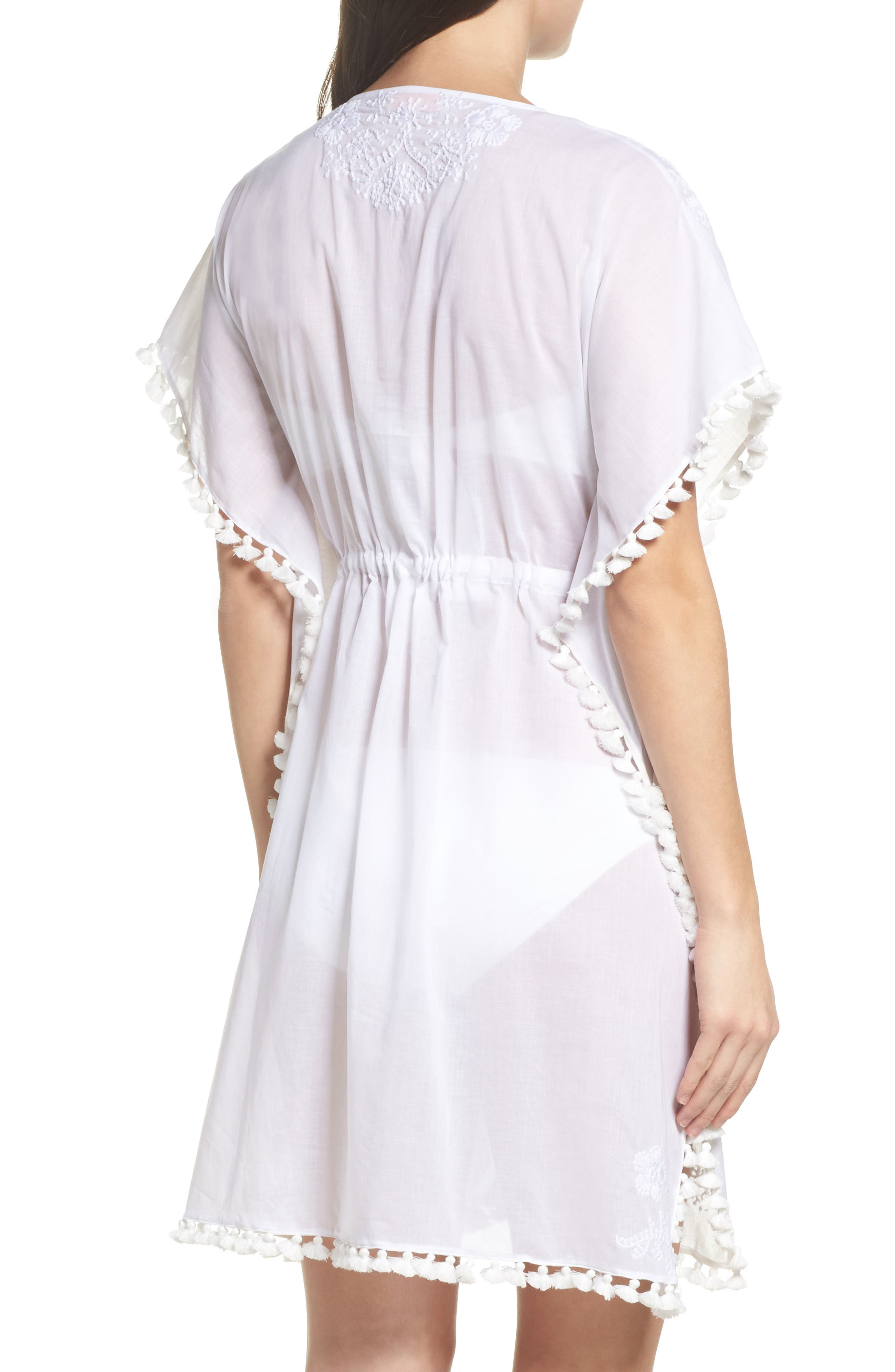 Embroidered Cover-Up Caftan,                             Alternate thumbnail 2, color,                             White / White