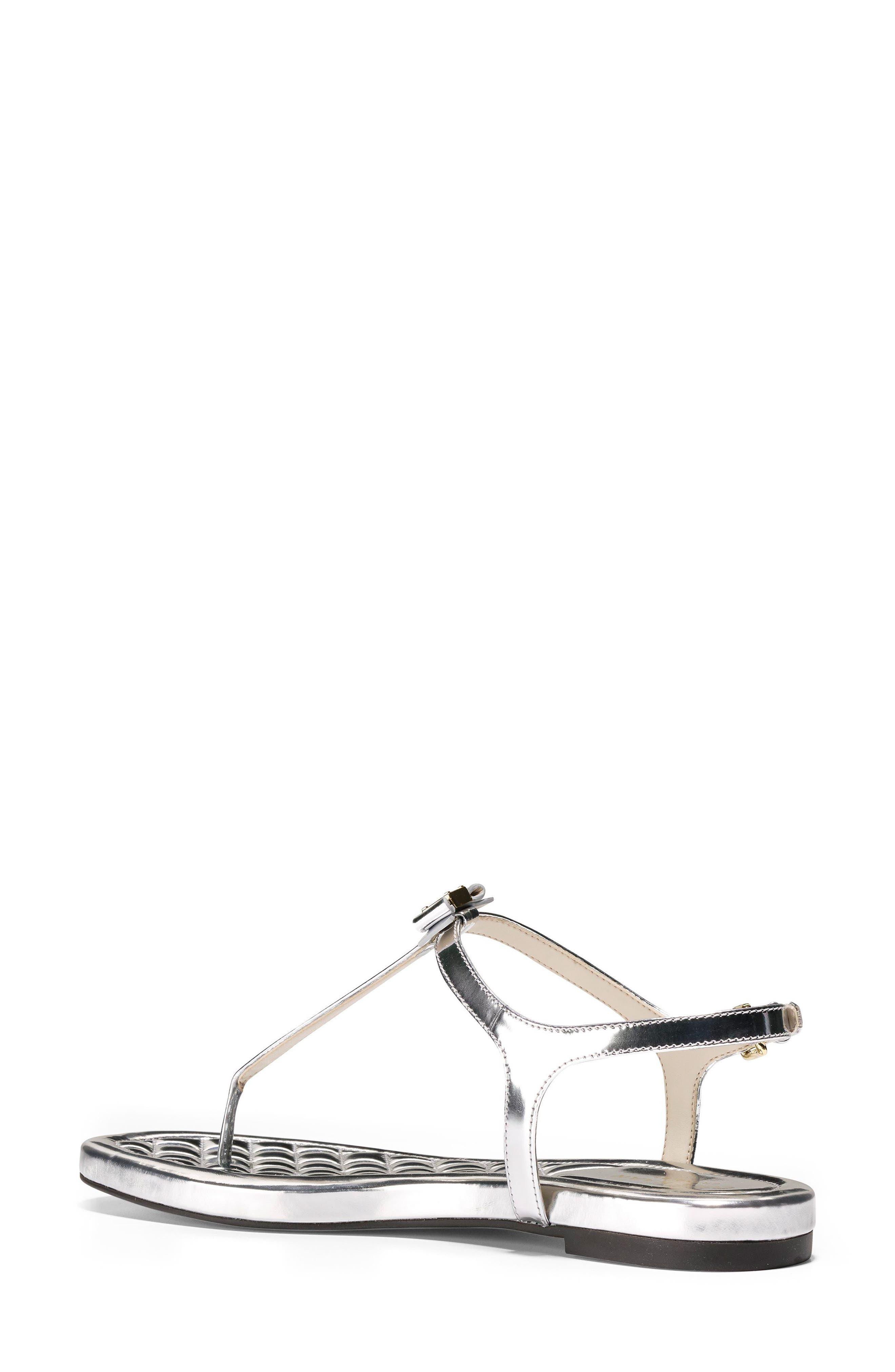 Tali Bow Sandal,                             Alternate thumbnail 2, color,                             Silver Leather
