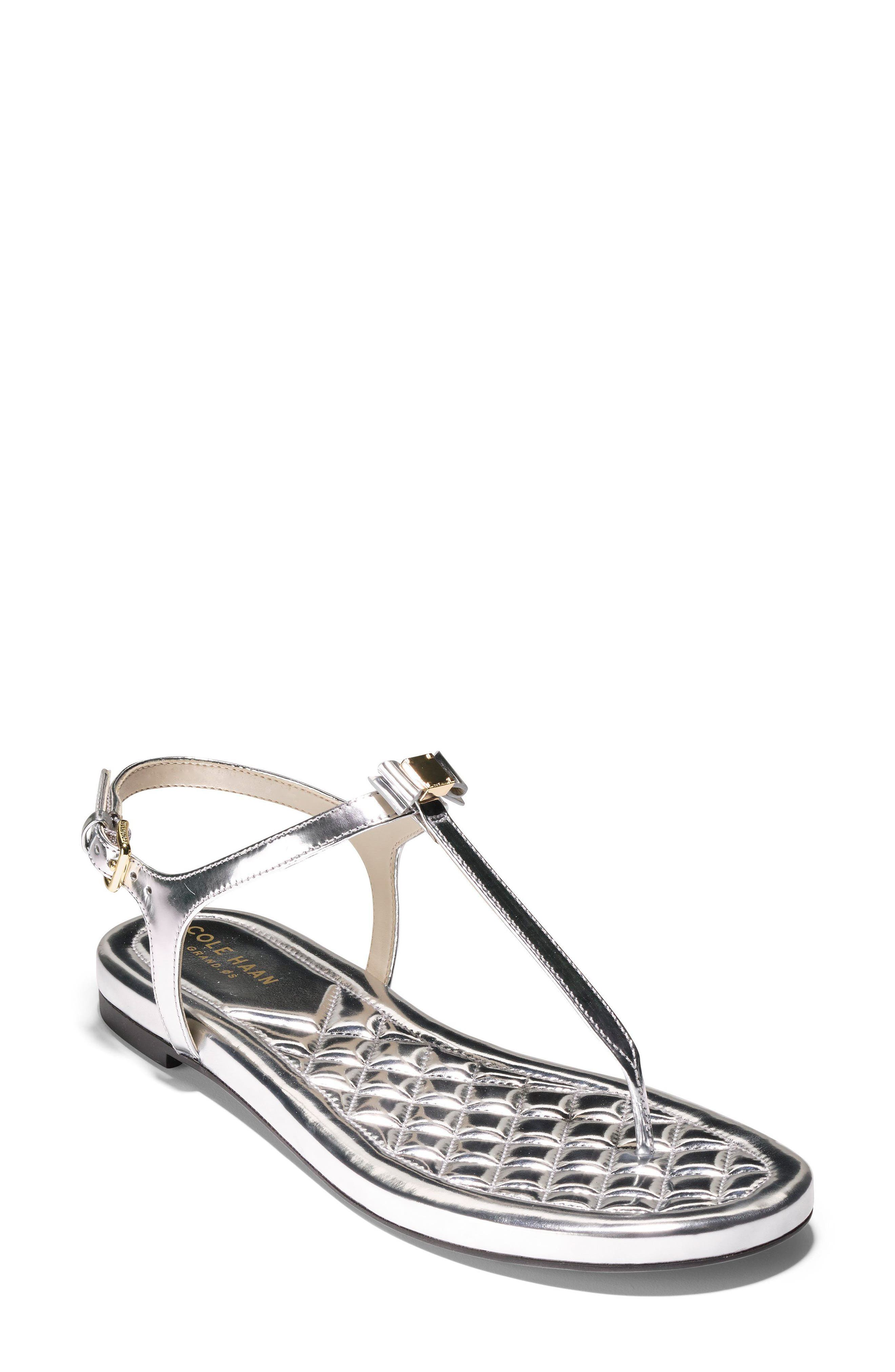 Tali Bow Sandal,                         Main,                         color, Silver Leather