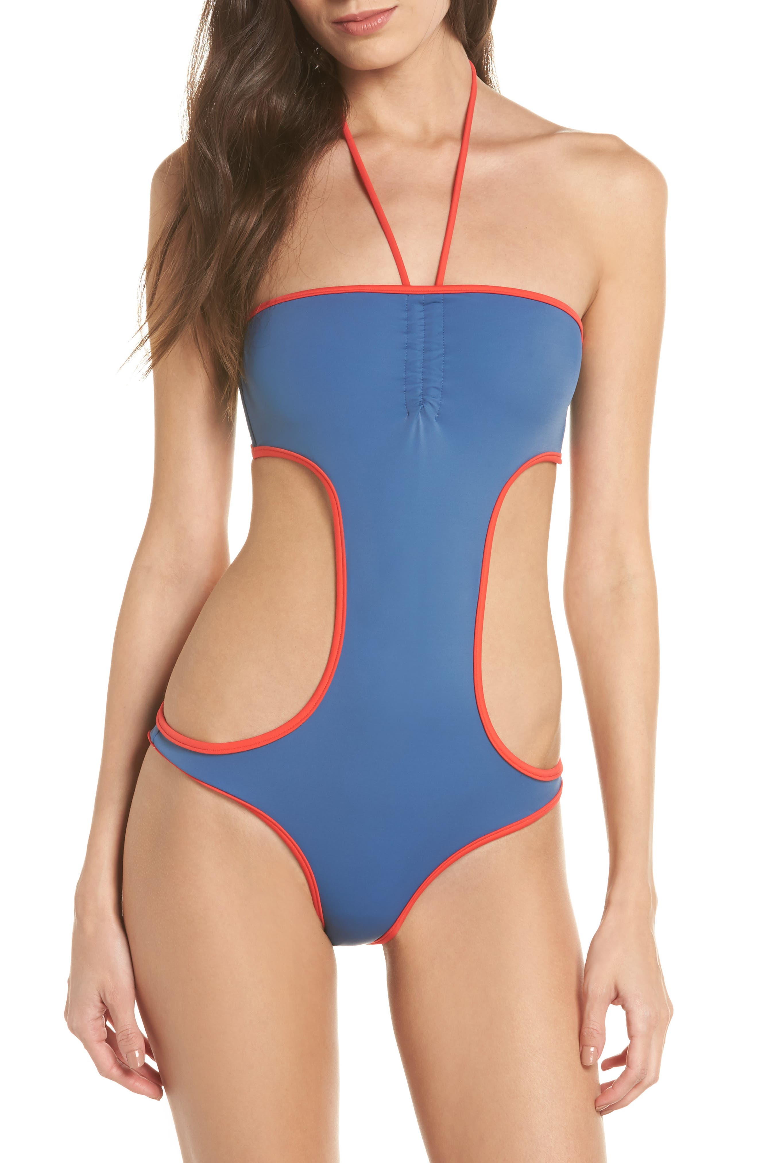 The Carolyn Cutout One-Piece Swimsuit,                         Main,                         color, Blue