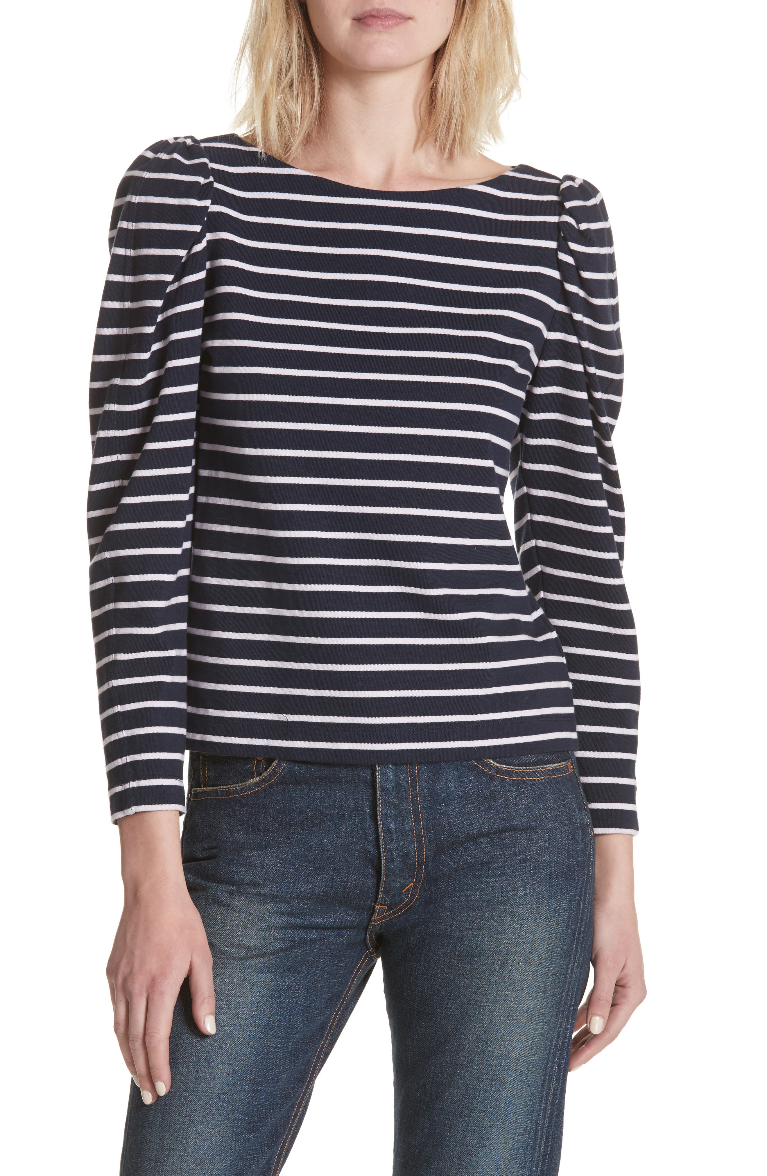 Stripe Top,                         Main,                         color, Midnight Navy Combo