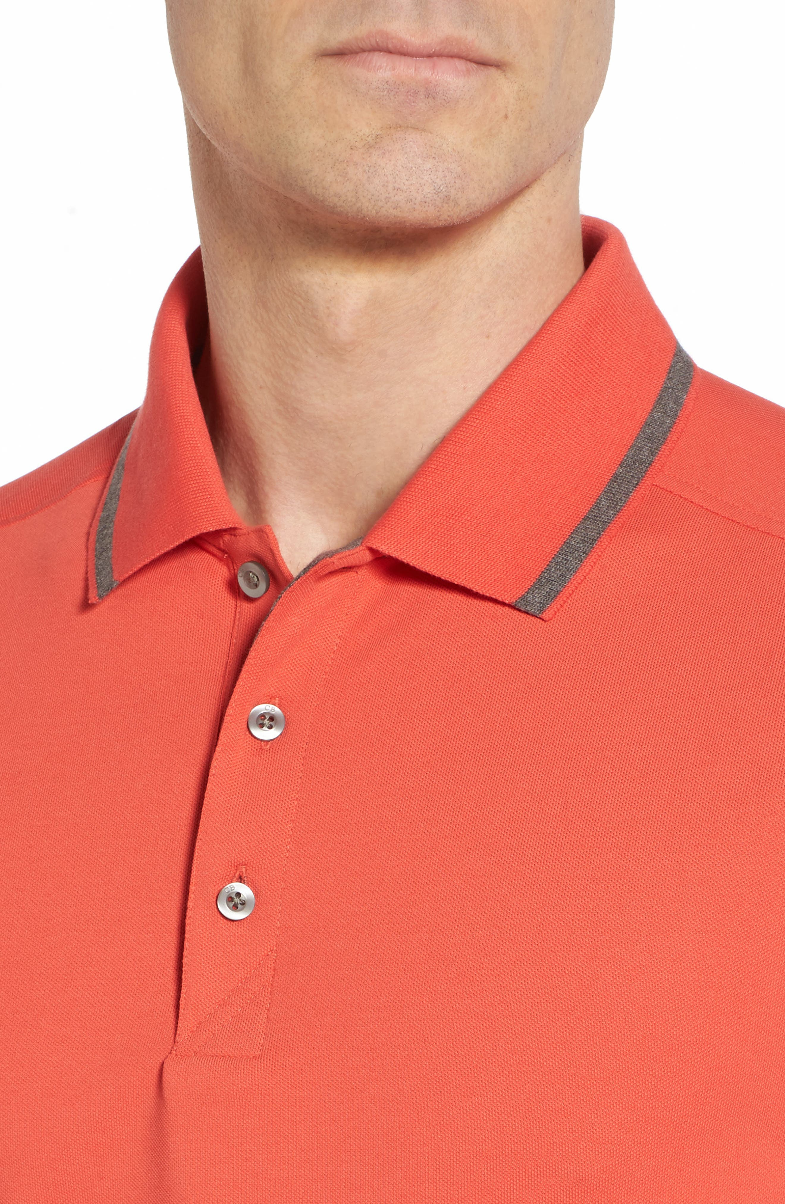 Tipped DryTec Polo,                             Alternate thumbnail 4, color,                             Tangelo
