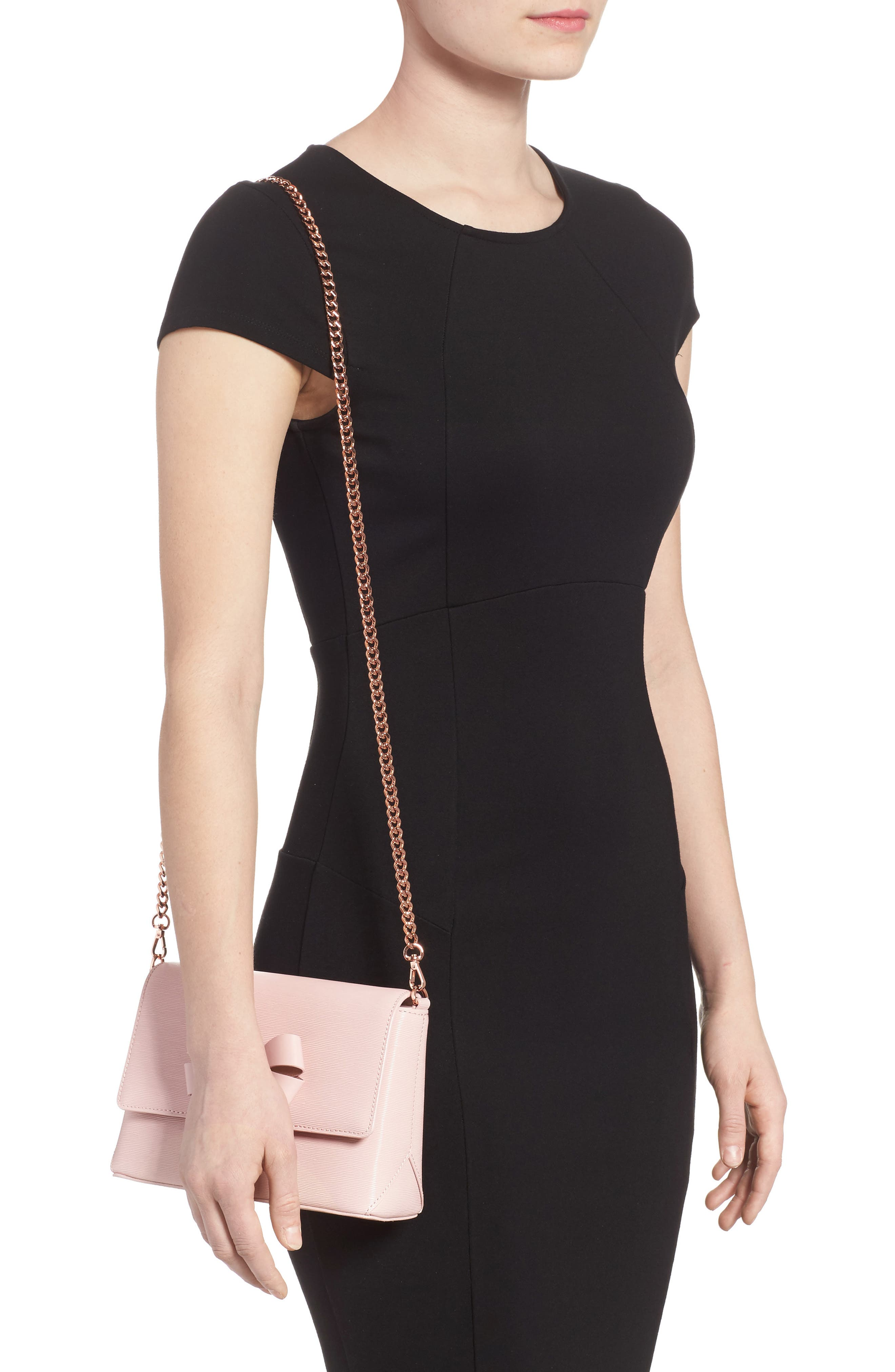 Bowii Bow Mini Bark Leather Crossbody Bag,                             Alternate thumbnail 2, color,                             Light Pink