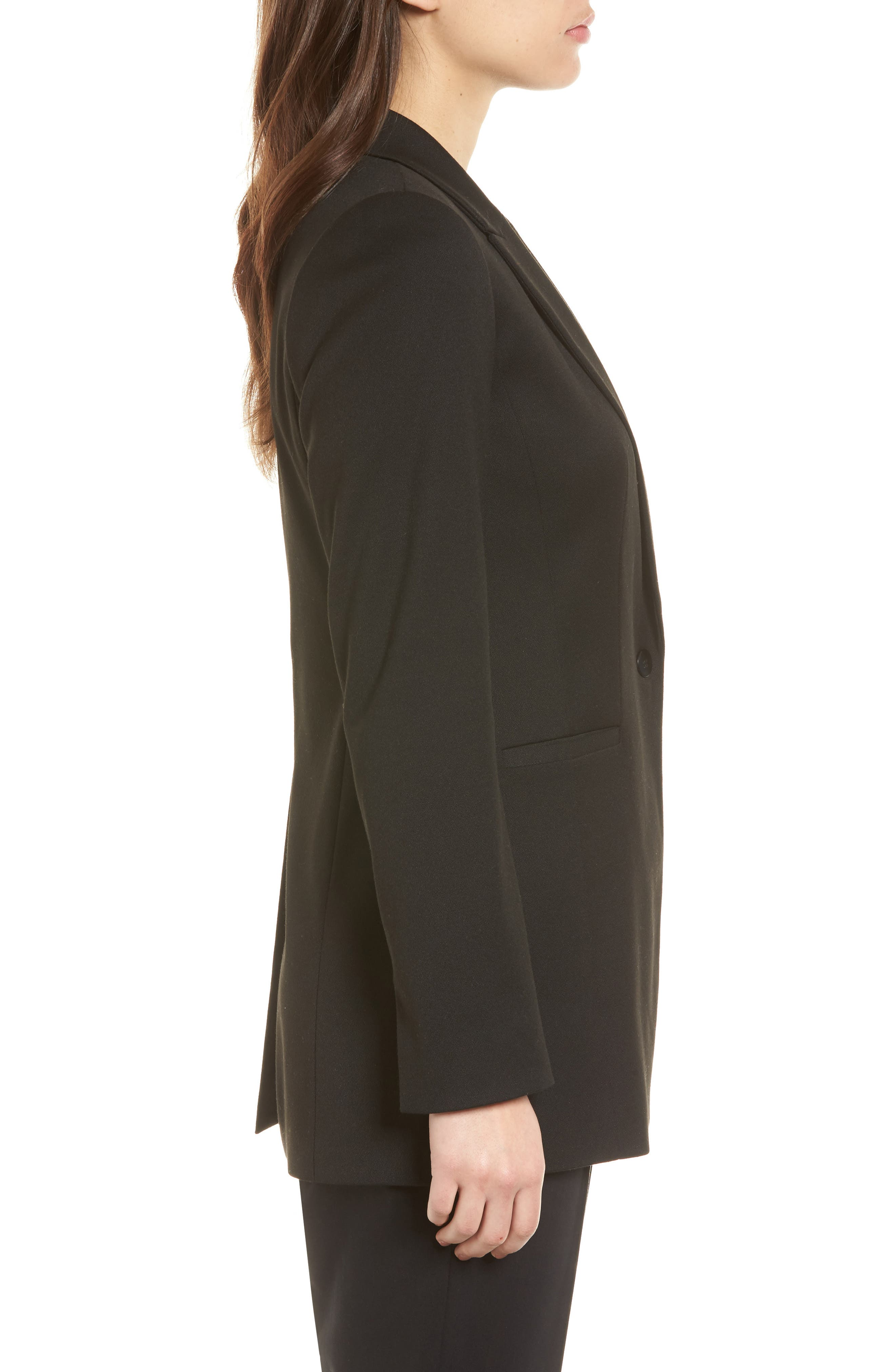 Stretch Crepe Suit Jacket,                             Alternate thumbnail 3, color,                             Black