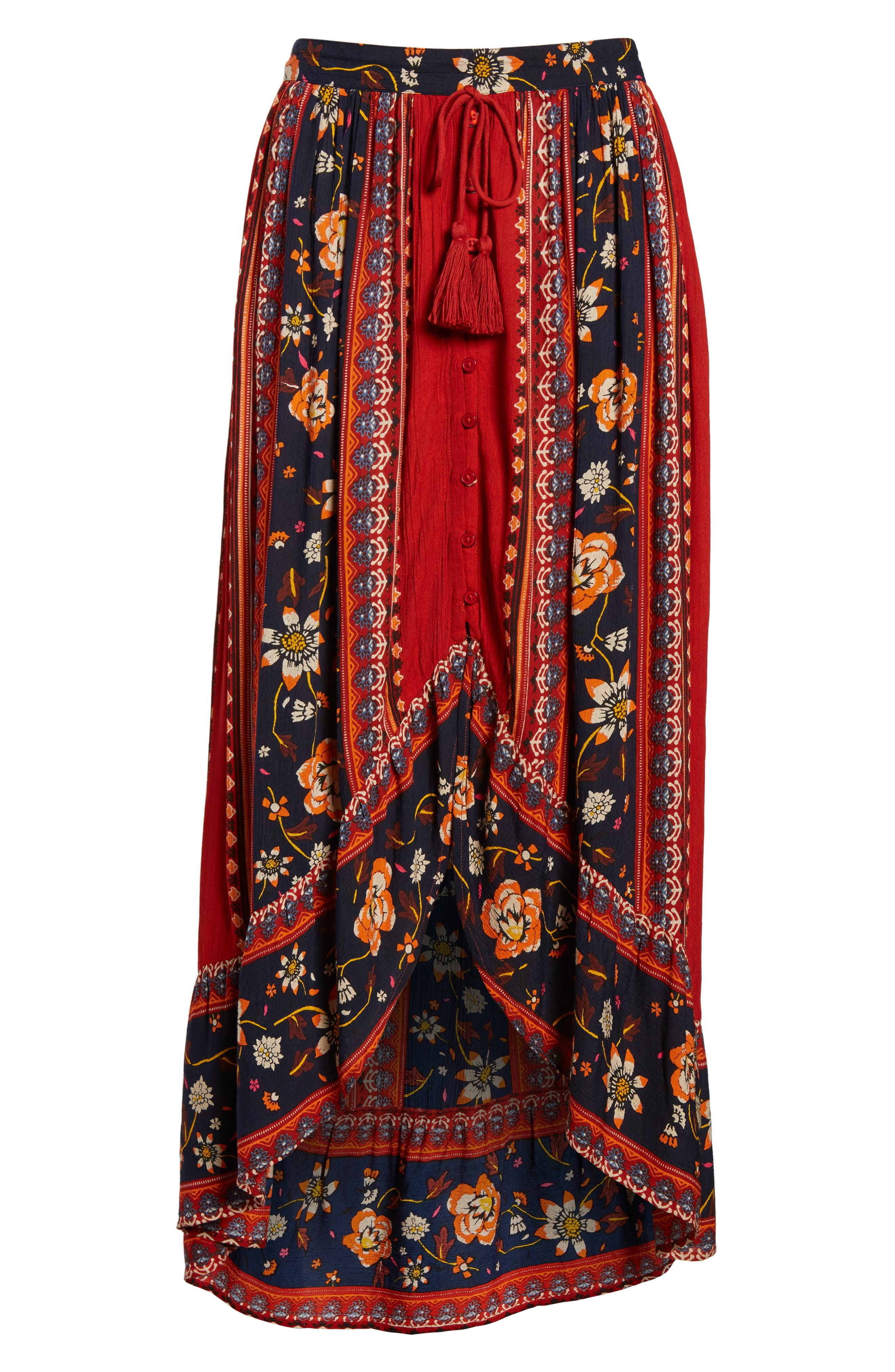 Alternate Image 7  - Band of Gypsies High/Low Button Front Skirt