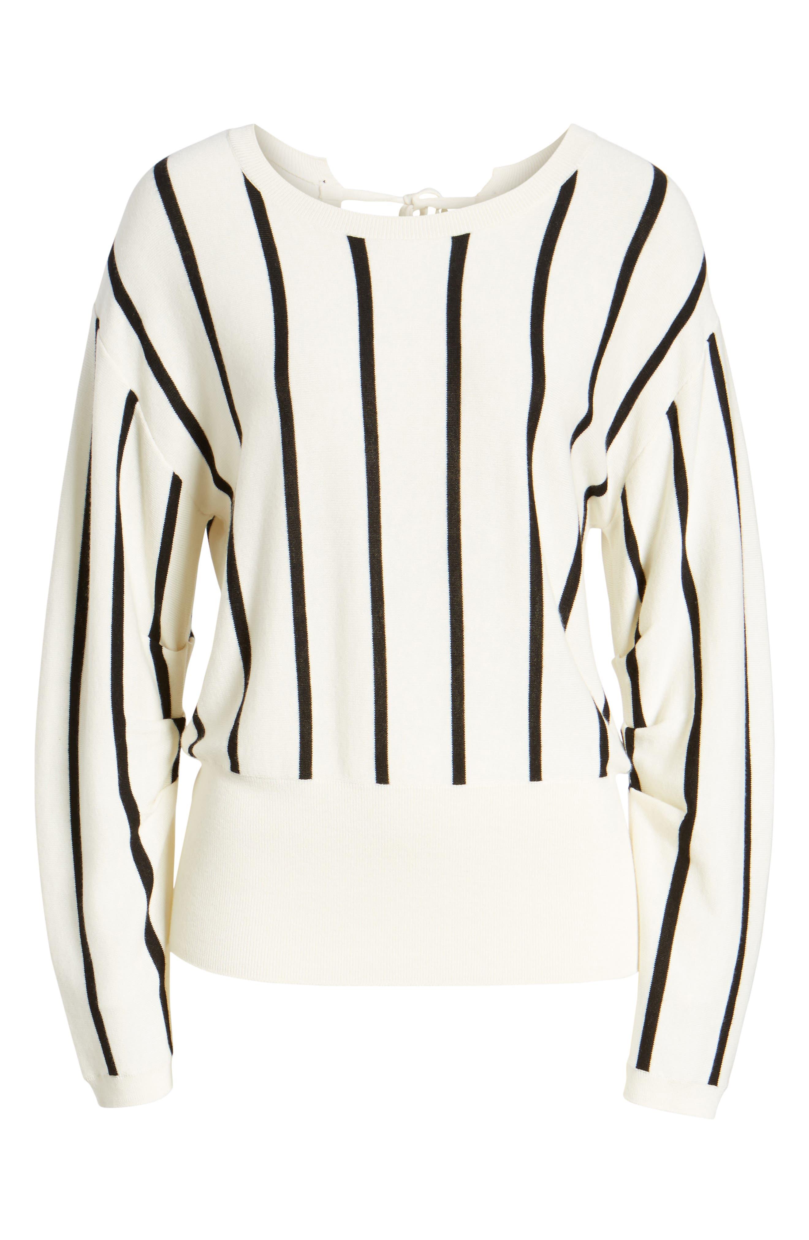 Vertical Stripe Sweater,                             Alternate thumbnail 6, color,                             Ivory/ Black Becky Stripe