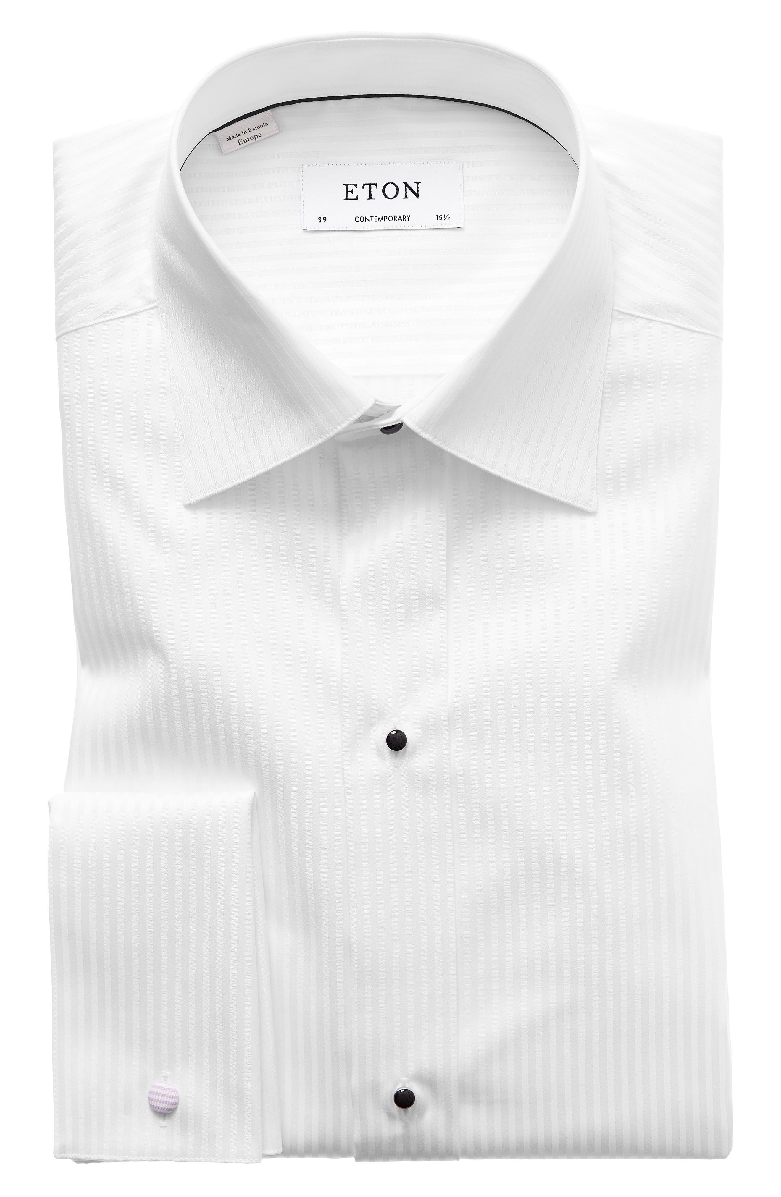 Contemporary Fit Tuxedo Shirt,                             Main thumbnail 1, color,                             White
