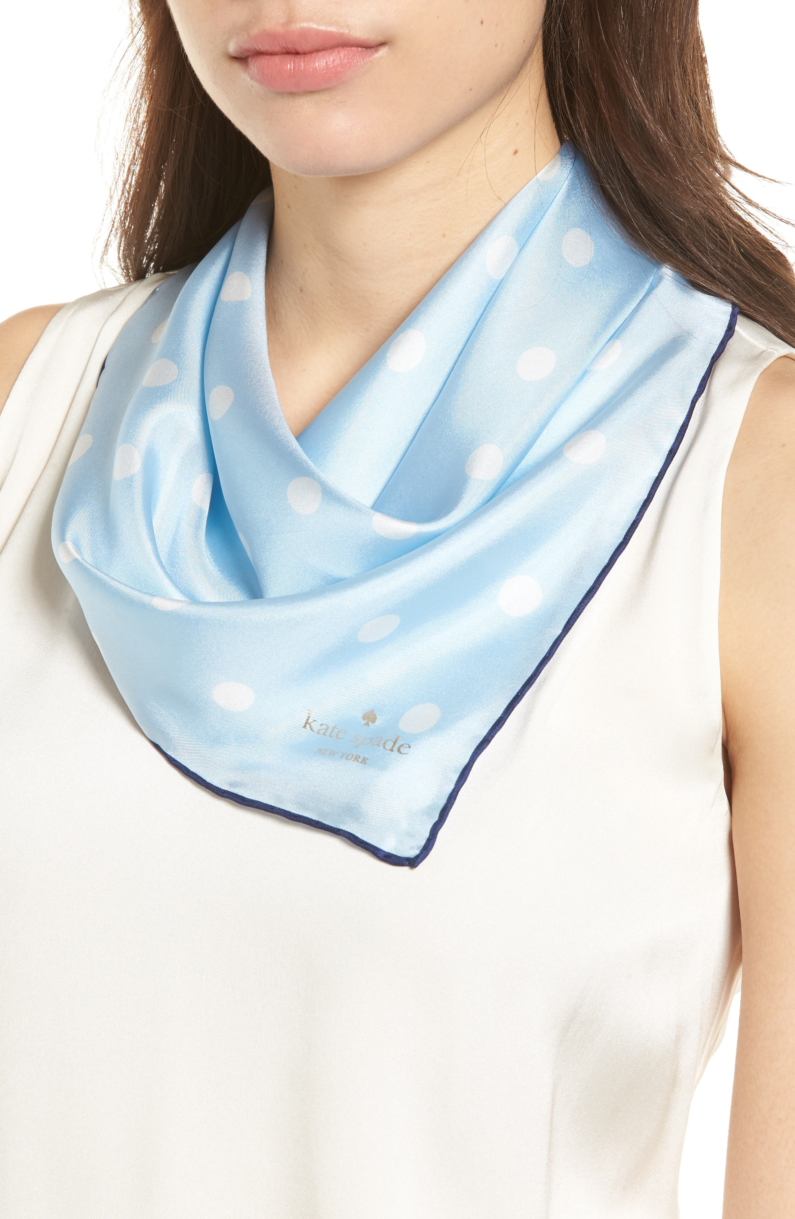 dancing dot silk bandana,                             Main thumbnail 1, color,                             Bayside Blue/ French Navy