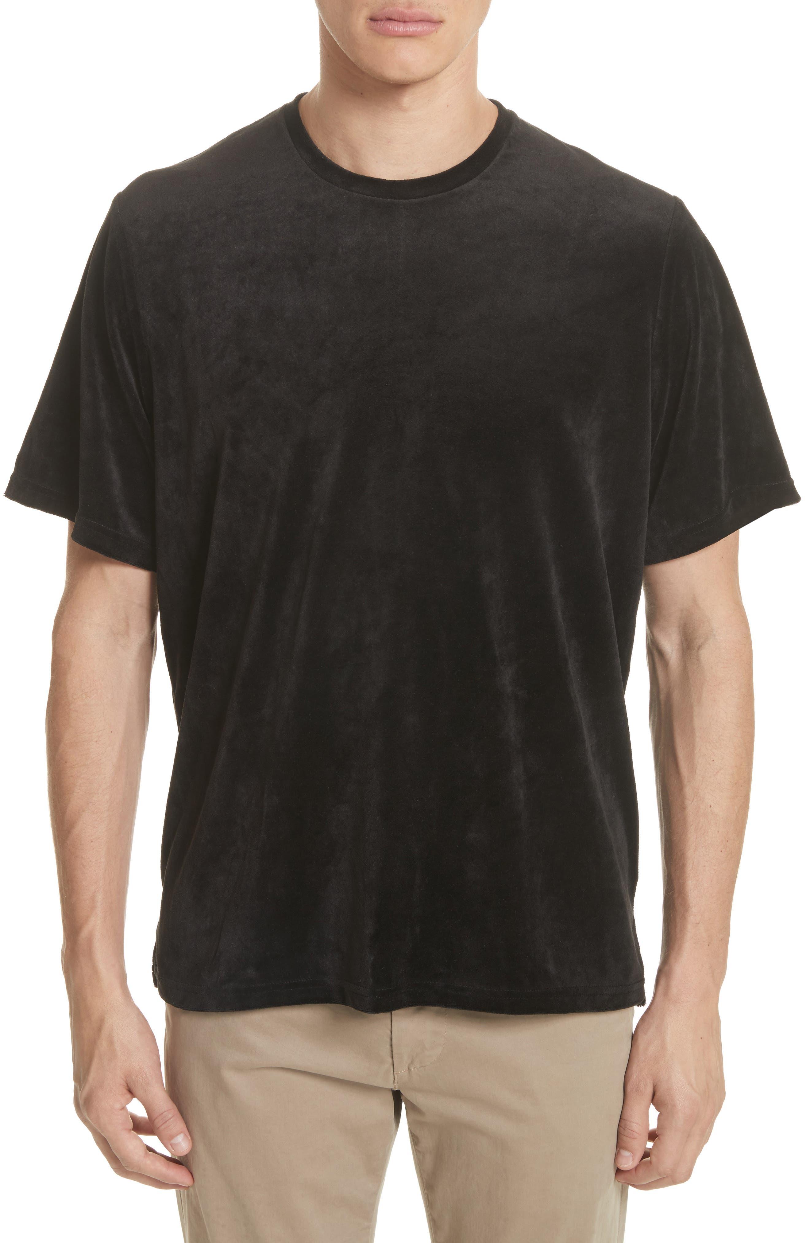Velour T-Shirt,                         Main,                         color, Black