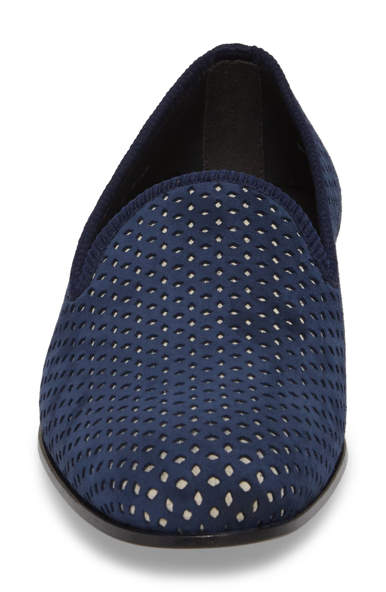 Cibeles Venetian Loafer,                             Alternate thumbnail 4, color,                             Blue/ Bone Suede