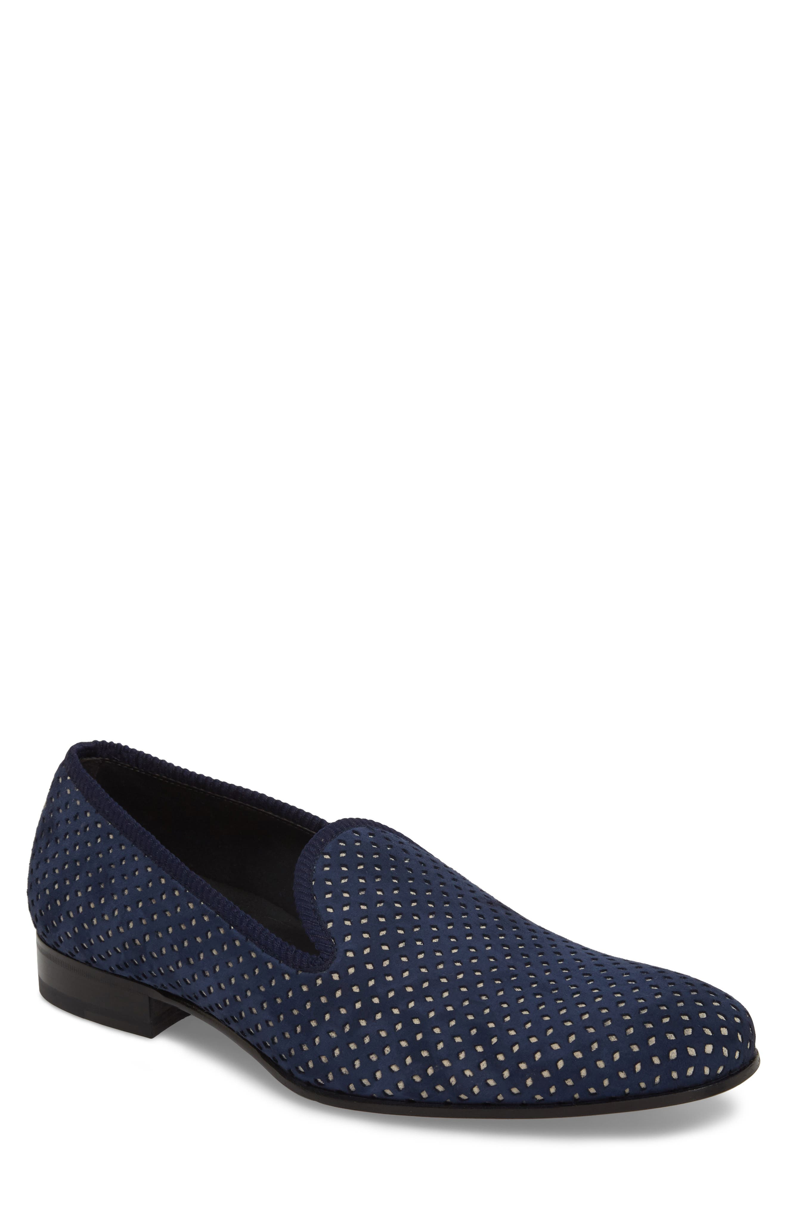 MEZLAN Cibeles Venetian Loafer in Blue/ Bone Suede