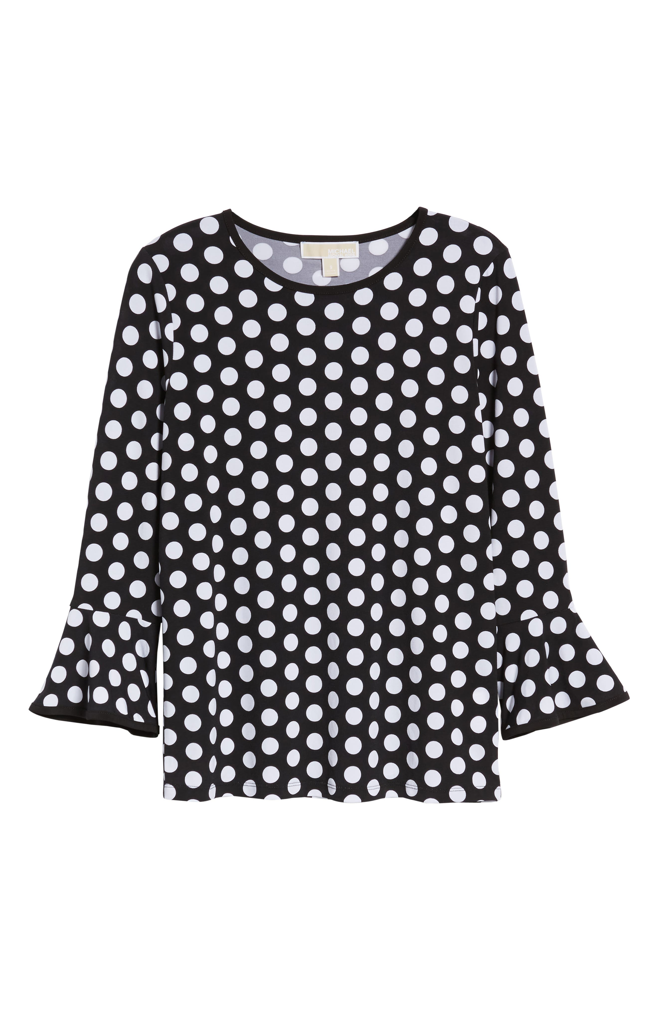 Simple Dots Flare Sleeve Top,                             Alternate thumbnail 6, color,                             Black/ White