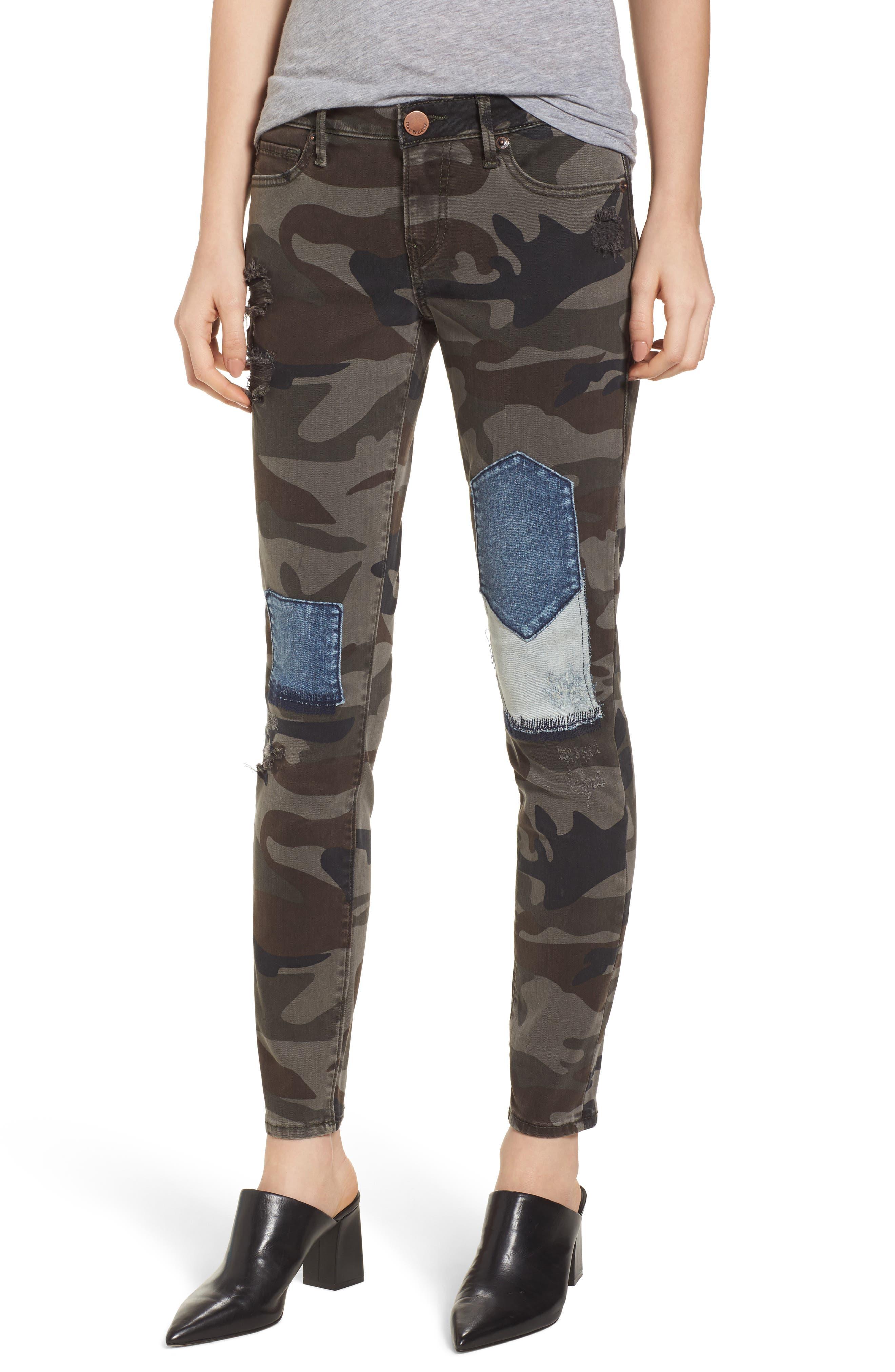 Halle Super Skinny Jeans,                         Main,                         color, Cobalt Camo