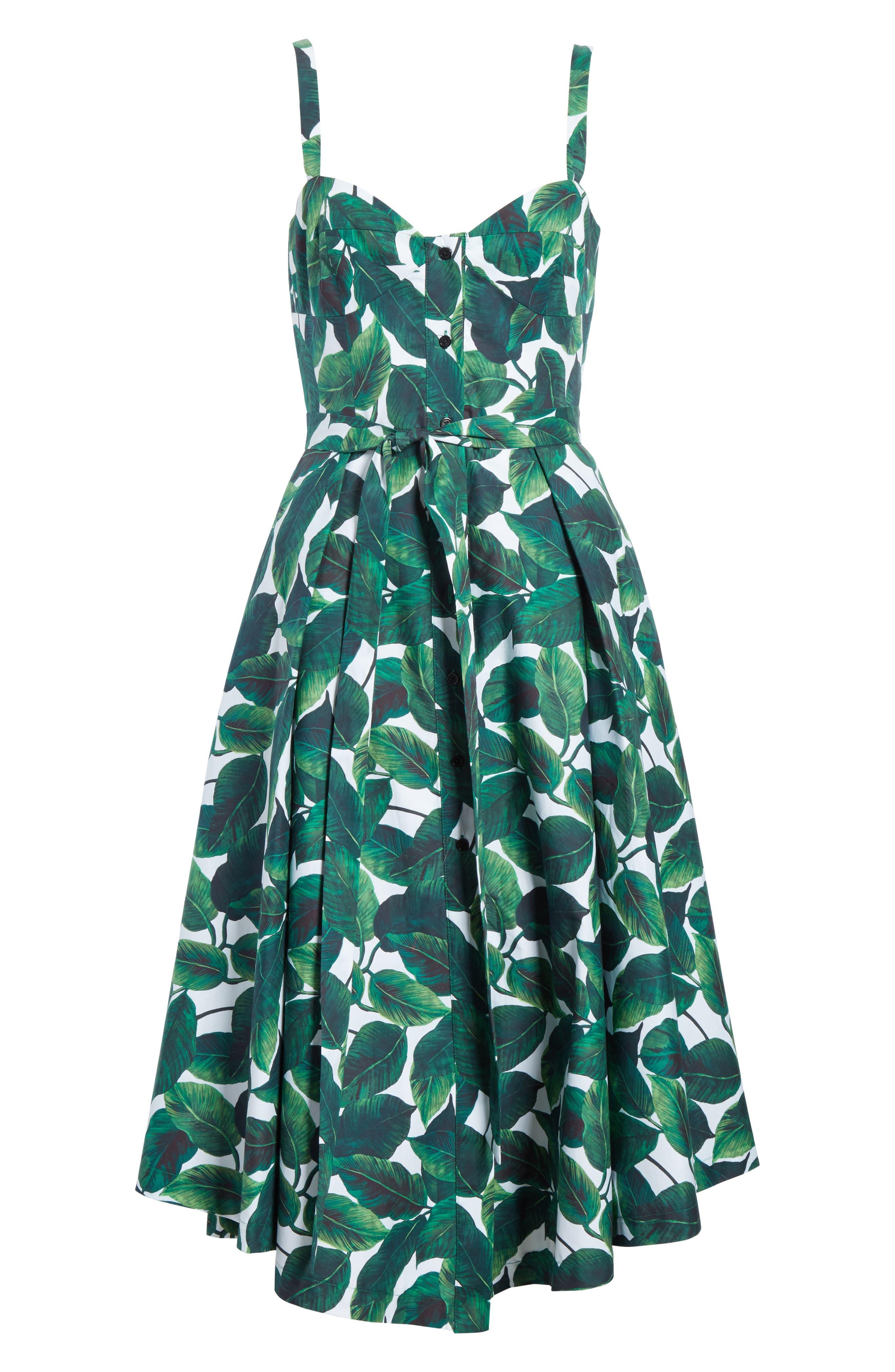 Print Poplin Midi Dress,                             Alternate thumbnail 6, color,                             Emerald