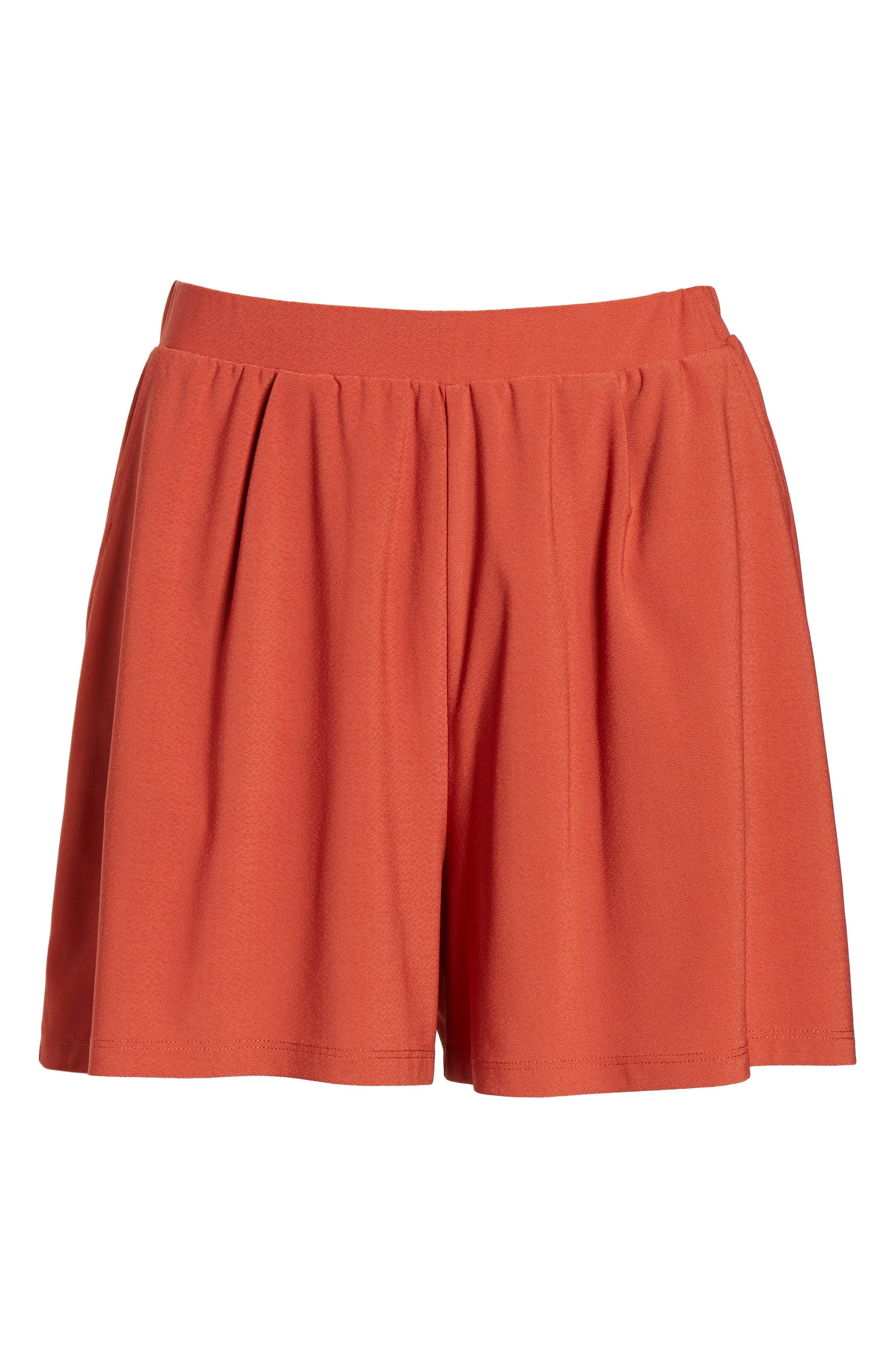 Pleat Front Shorts,                             Alternate thumbnail 6, color,                             Rust Bossa Nova