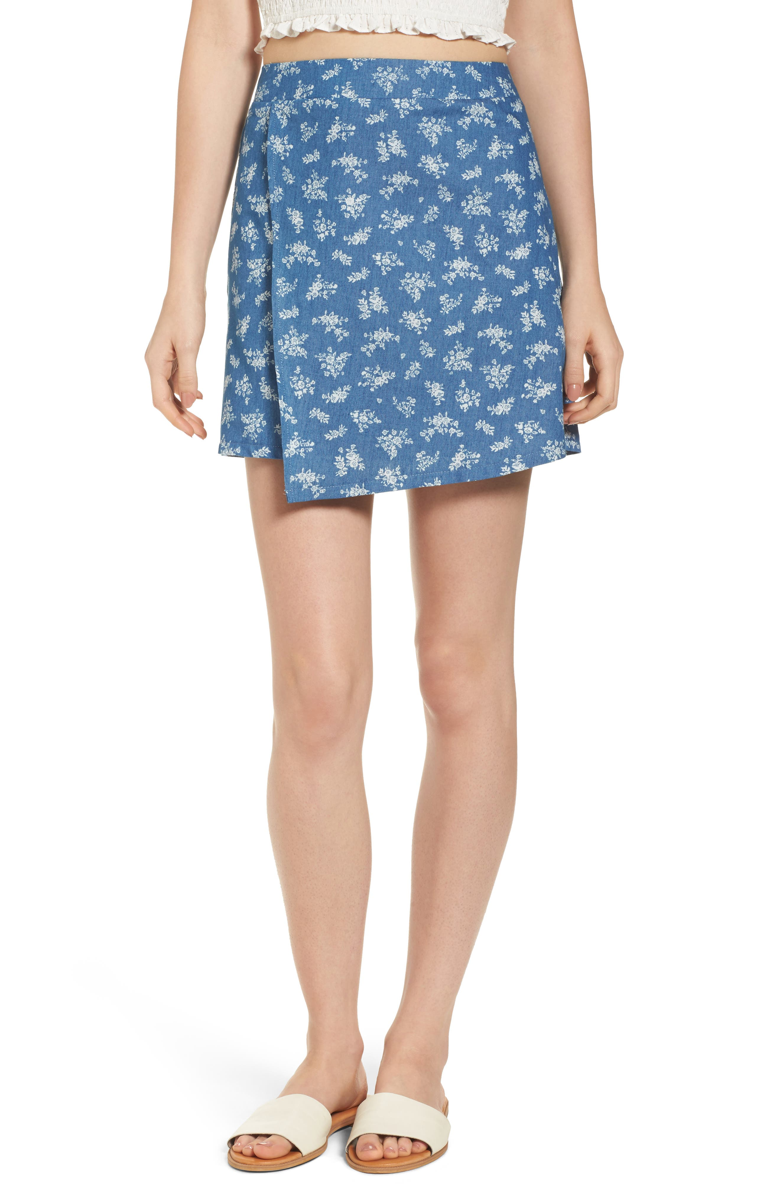 Mimi Chica Floral Print Wrap Panel Denim Skirt
