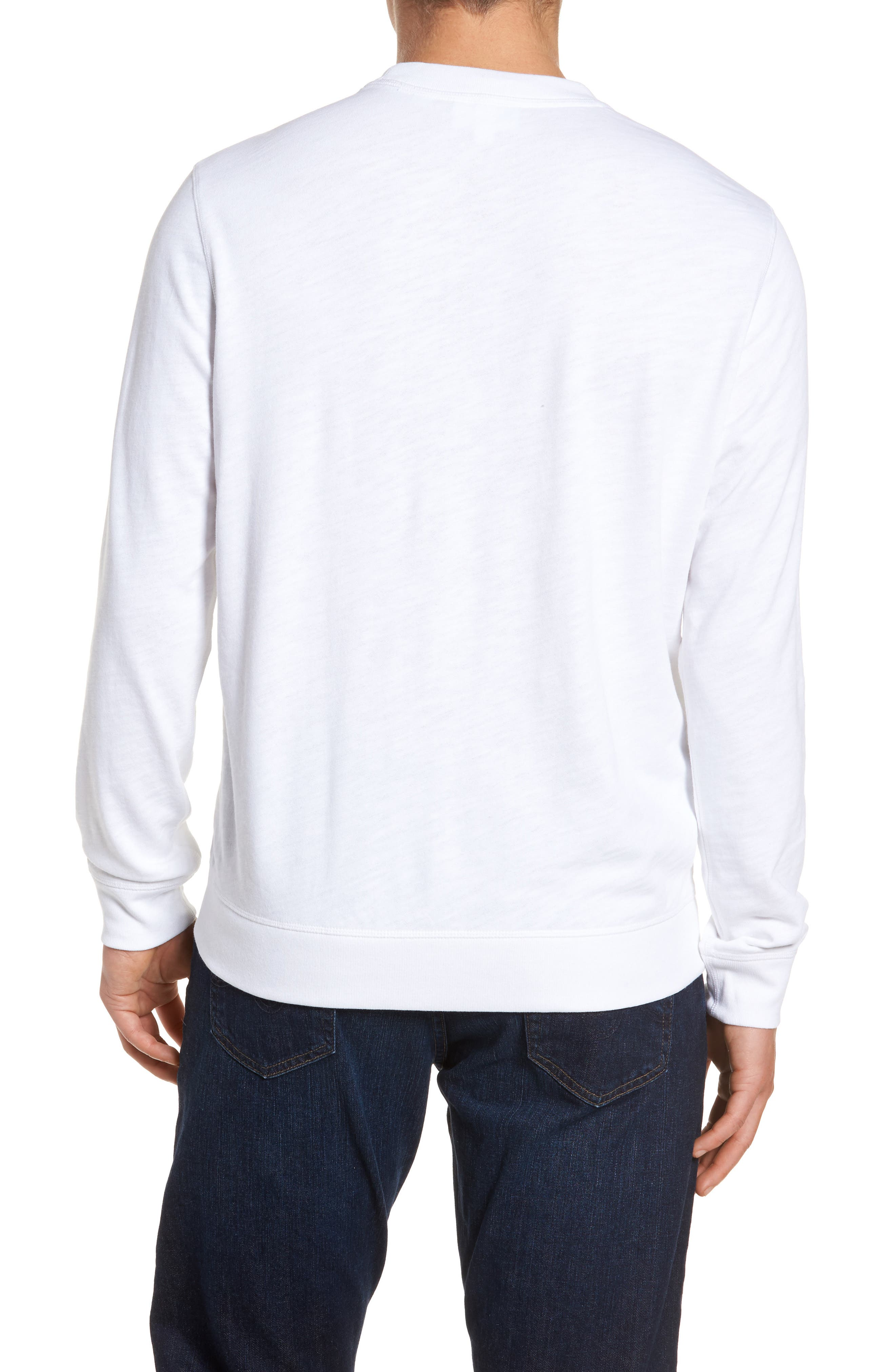 Slim Fit French Terry Sweatshirt,                             Alternate thumbnail 2, color,                             White