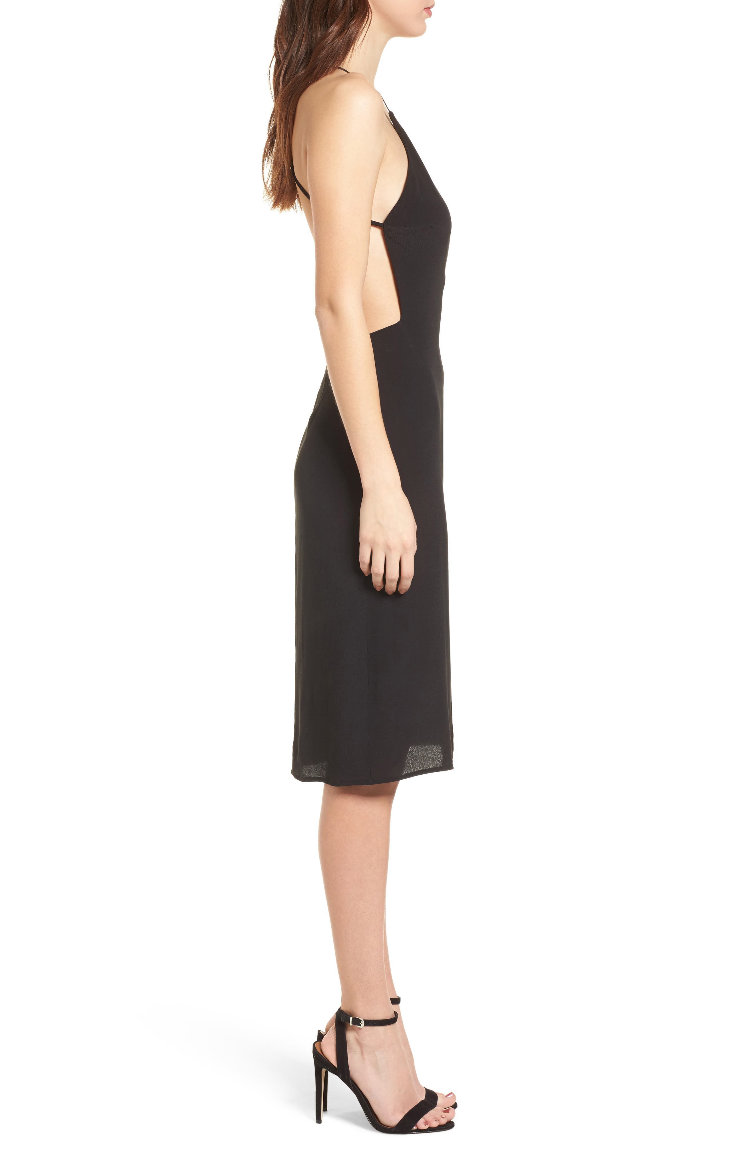 Backless Sheath Dress,                             Alternate thumbnail 3, color,                             Black