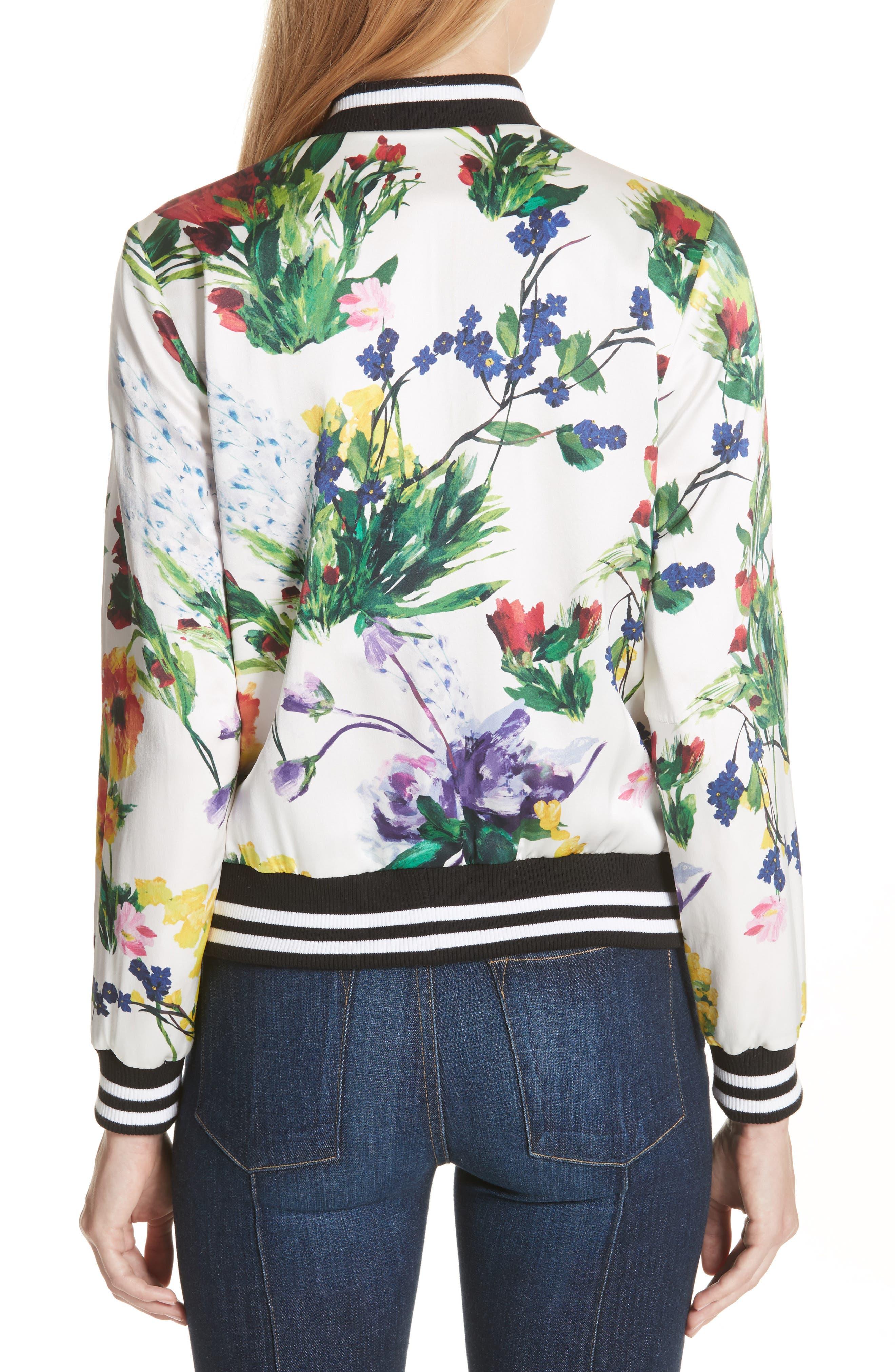 Lonnie Reversible Silk Bomber Jacket,                             Alternate thumbnail 3, color,                             Floral Damask/ Wildflower
