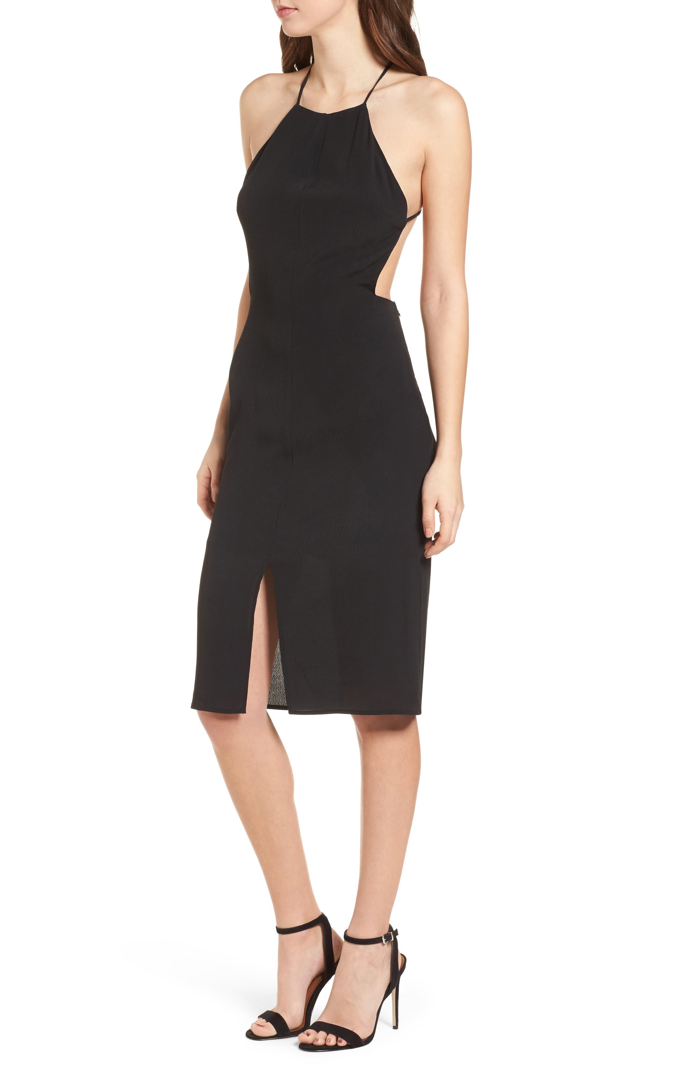 Backless Sheath Dress,                             Main thumbnail 1, color,                             Black
