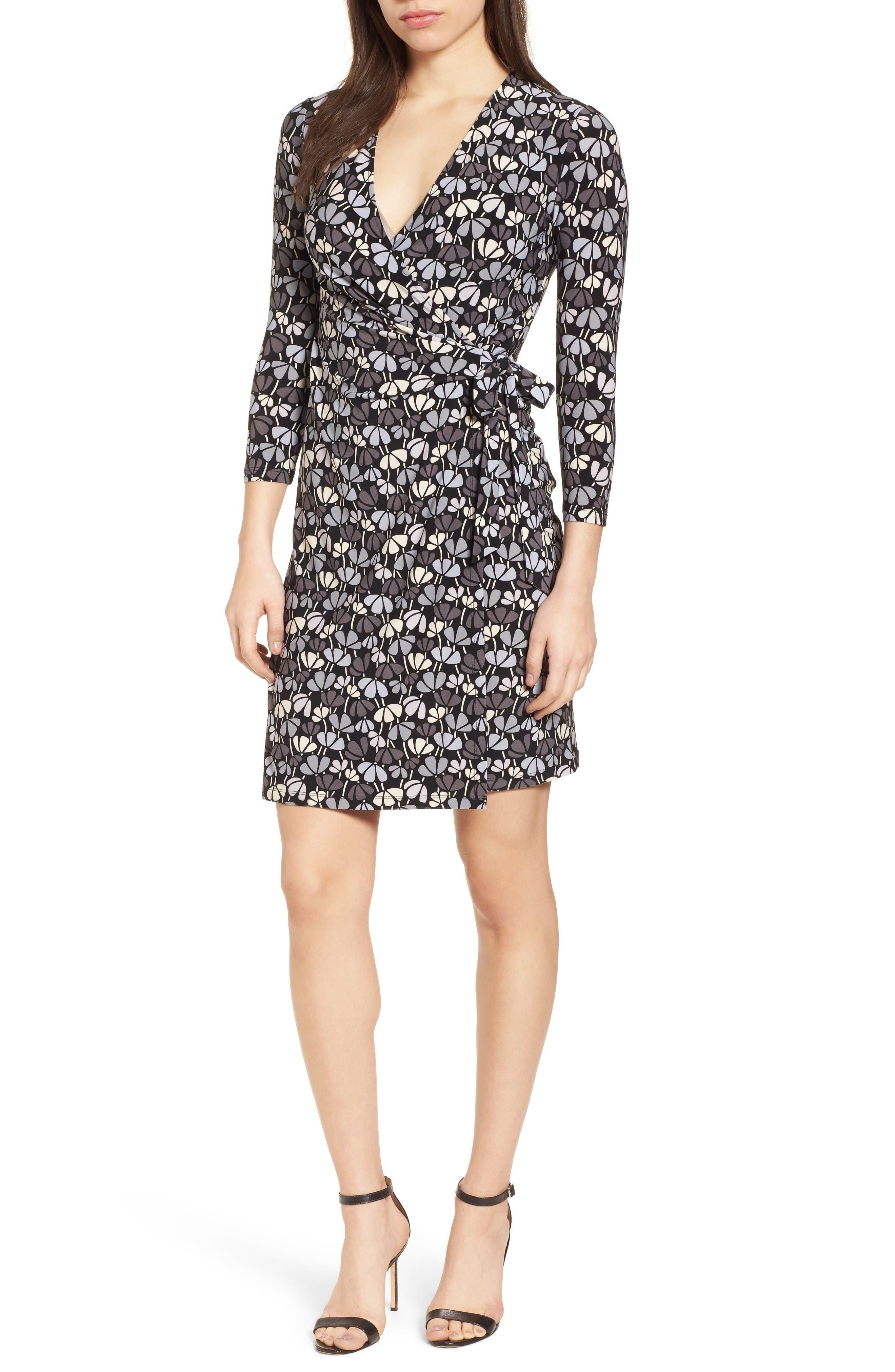 Flowerfall Faux Wrap Dress,                         Main,                         color, Black/ Summit Blue Combo