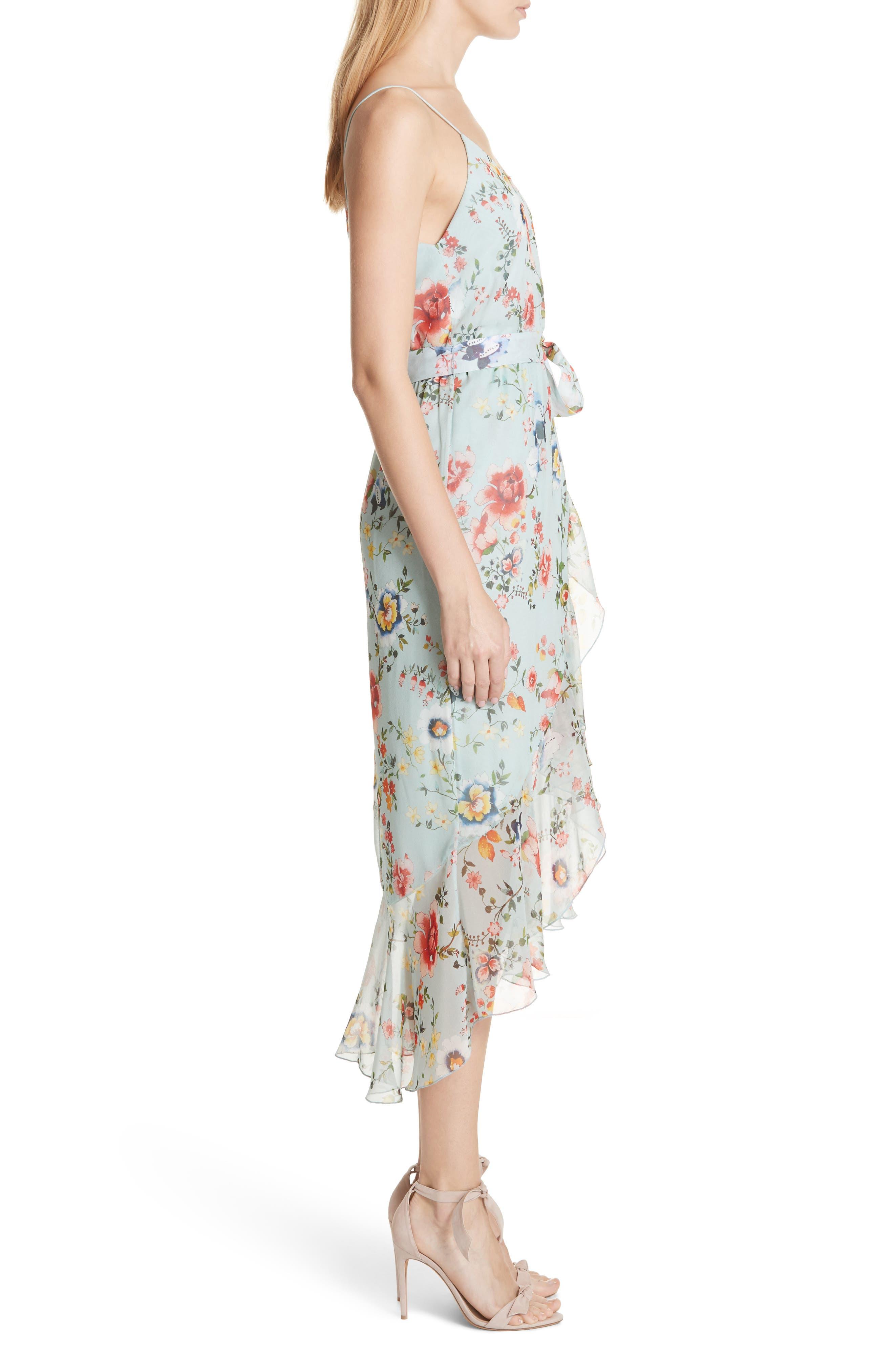 Mable Floral Silk Midi Dress,                             Alternate thumbnail 3, color,                             Floral Soiree-Dusty Aqua