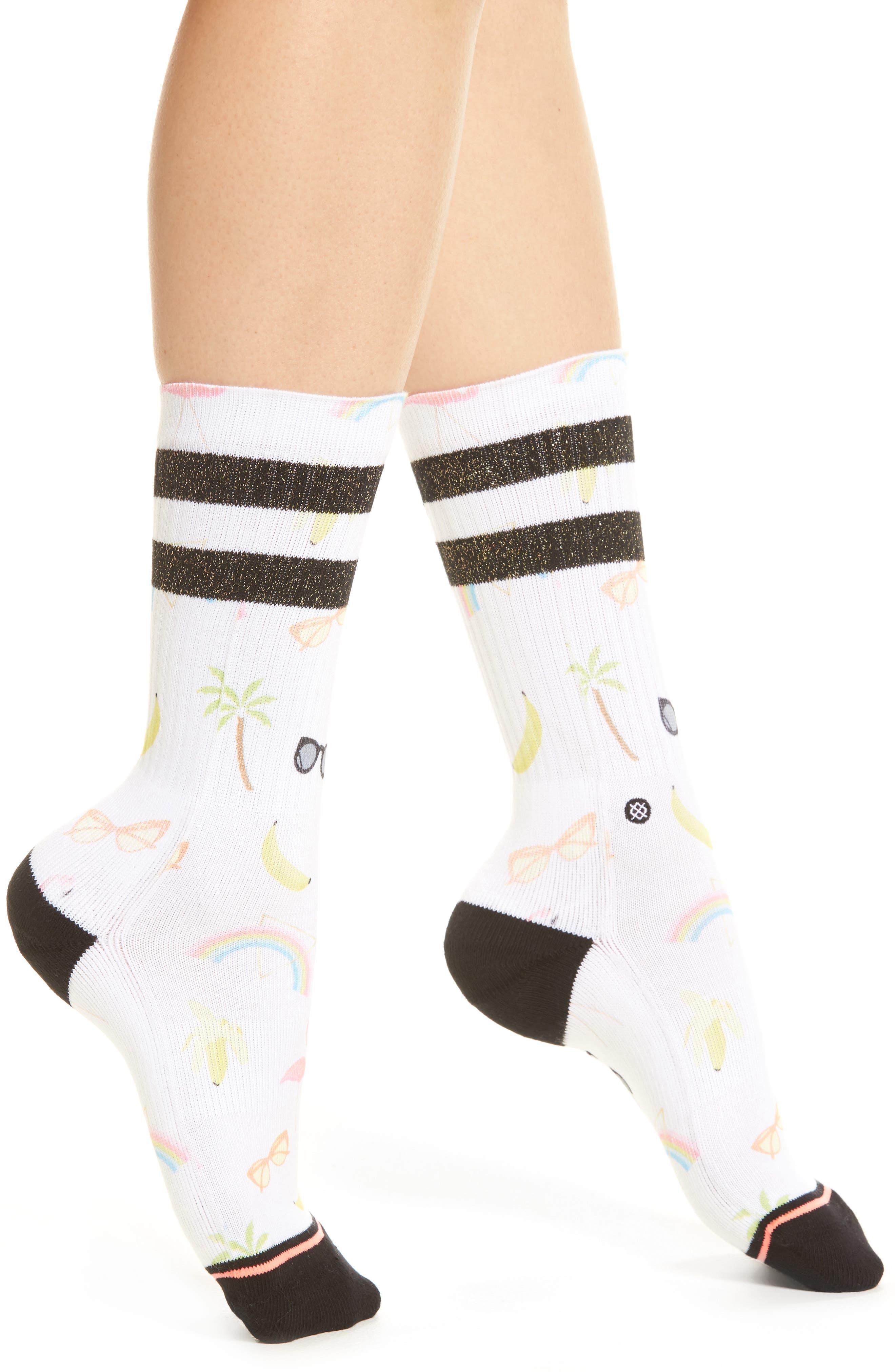 Laine Crew Socks,                             Main thumbnail 1, color,                             White