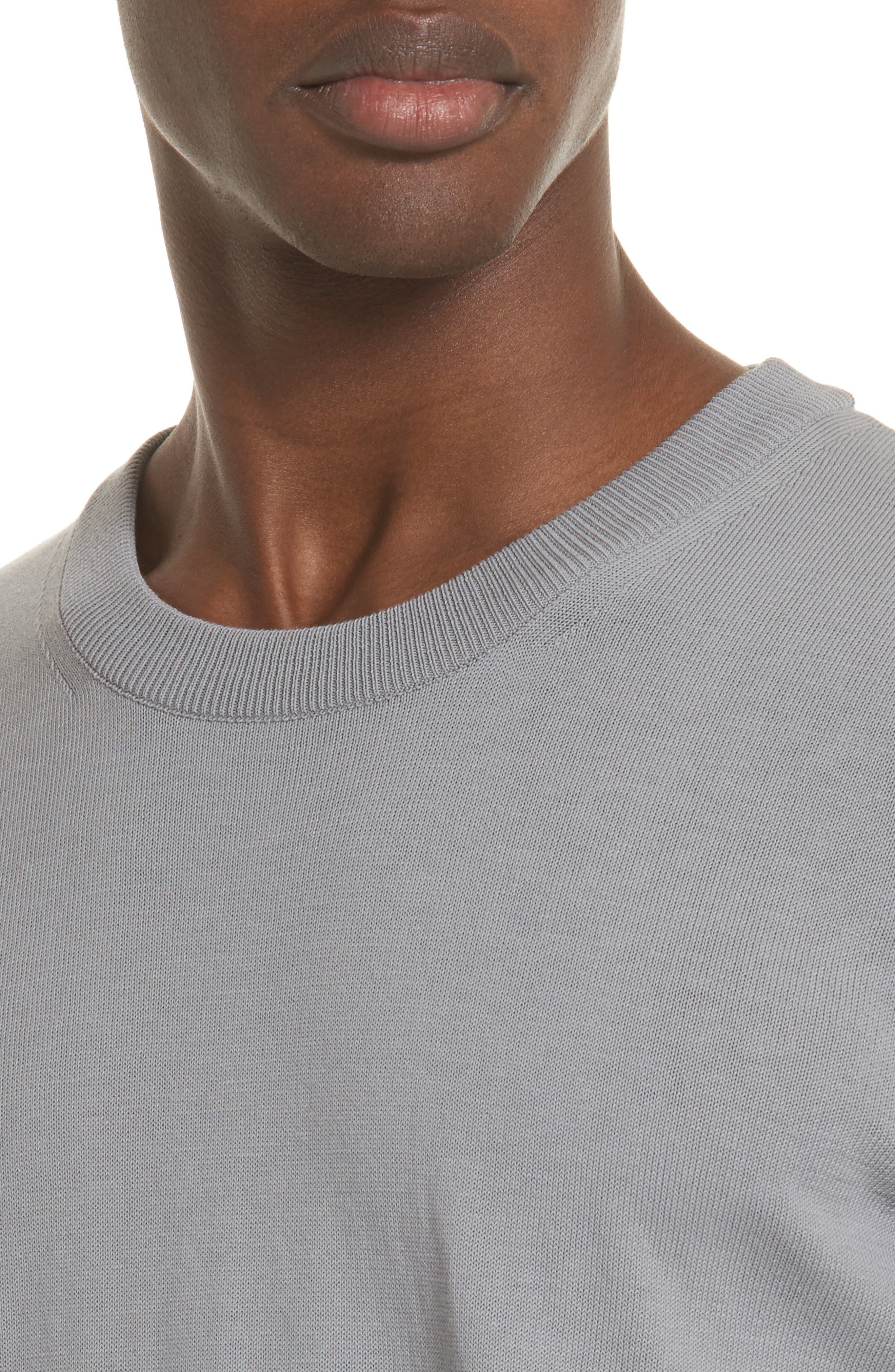 Jersey Cotton Sweater with Elbow Patches,                             Alternate thumbnail 4, color,                             Grey