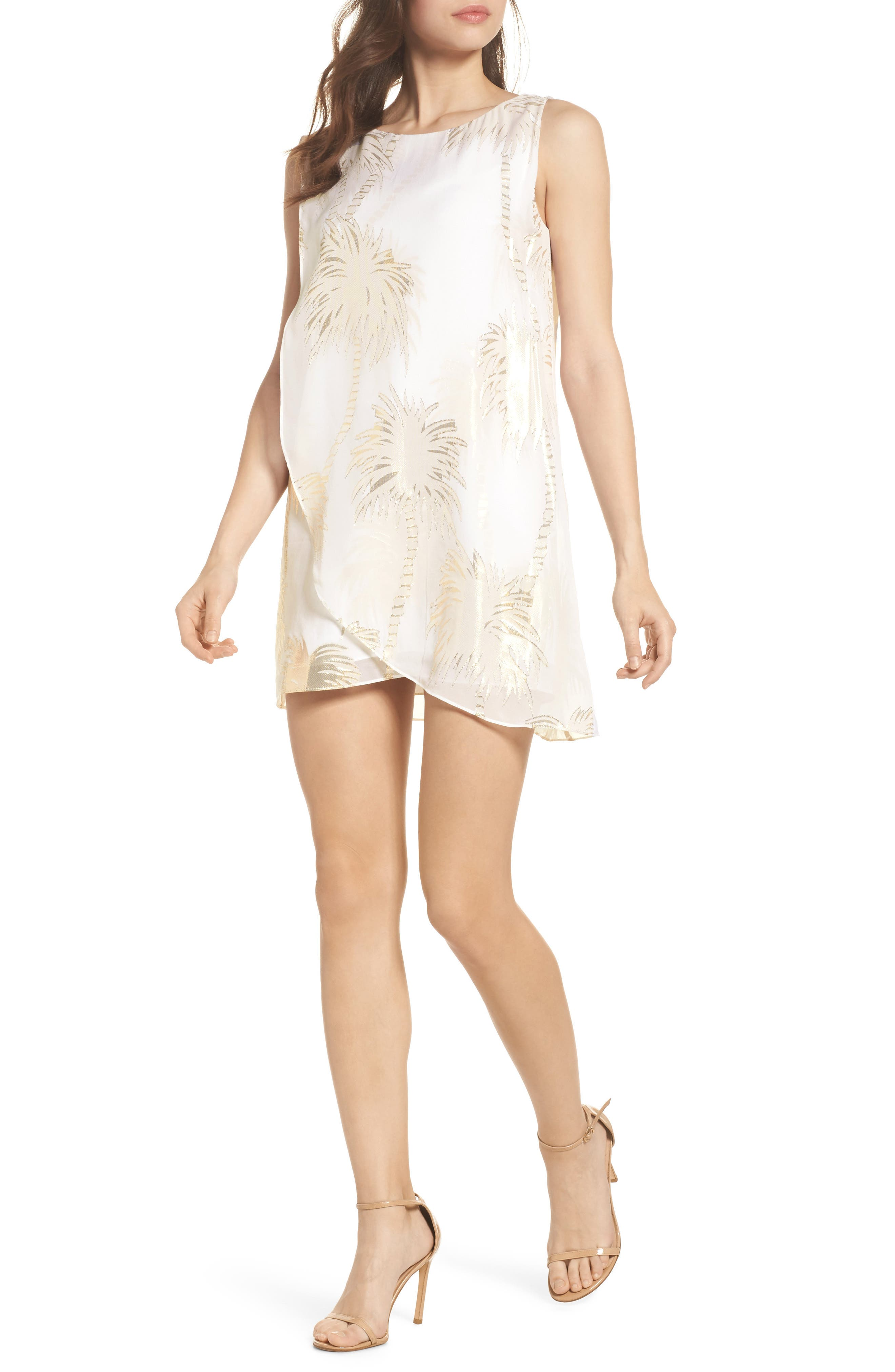 Calissa Silk Dress,                         Main,                         color, Resort White Palm Tree Clip