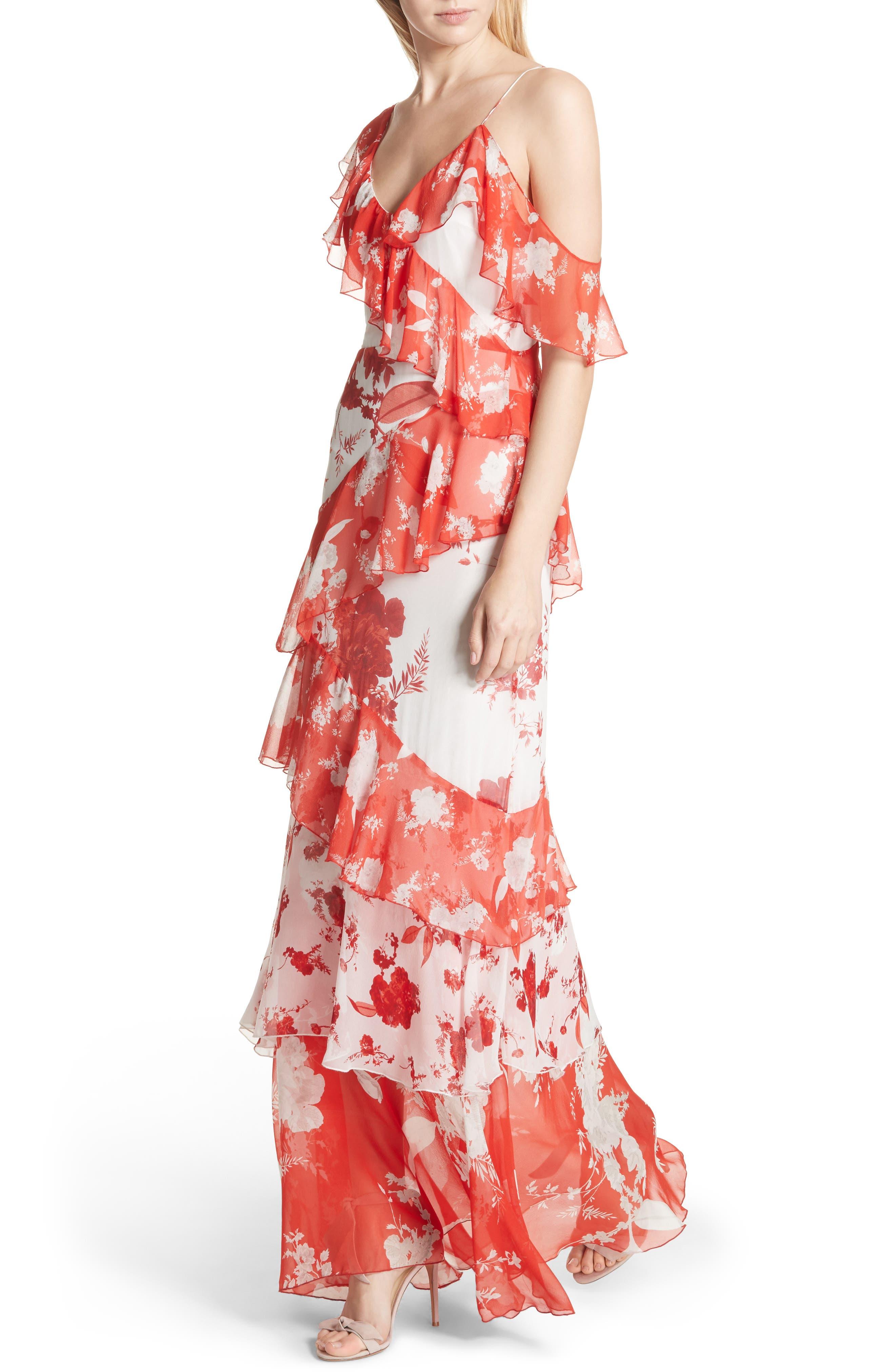 Olympia Asymmetrical Silk Maxi Dress,                             Alternate thumbnail 4, color,                             Damask Rose- Soft White