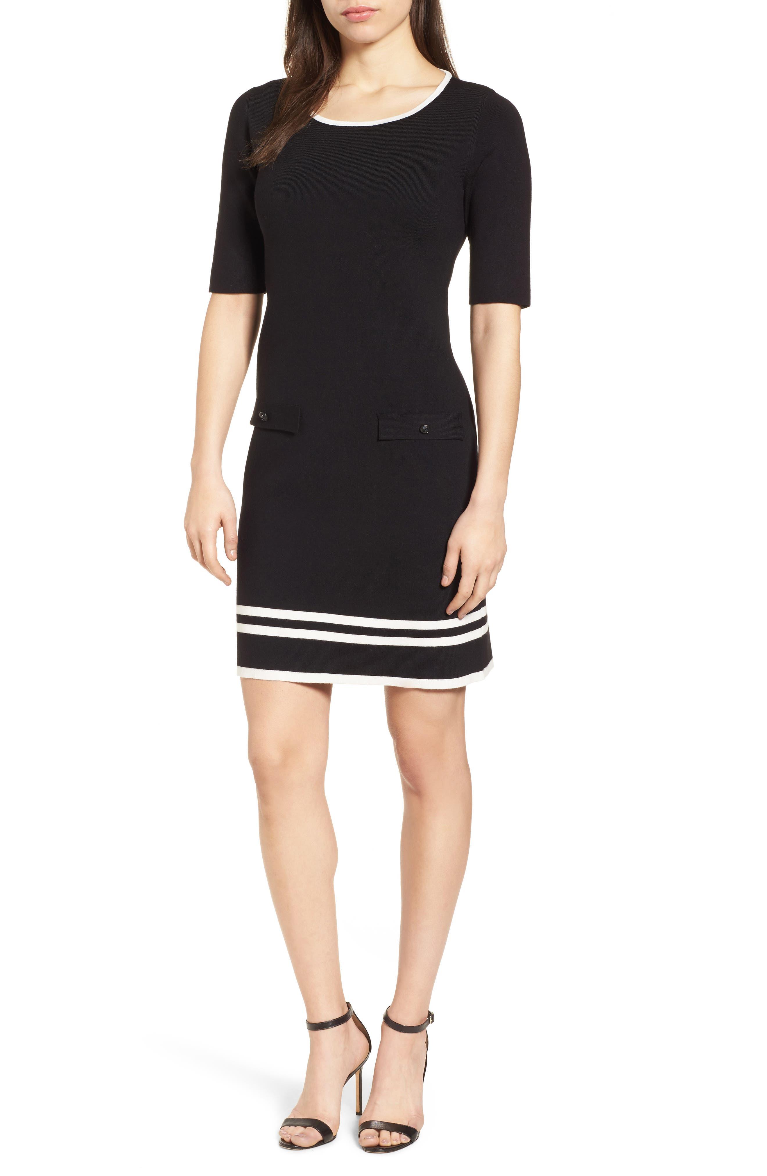 Ann Klein New York Stripe Border Knit Sheath Dress,                             Main thumbnail 1, color,                             Black/ White