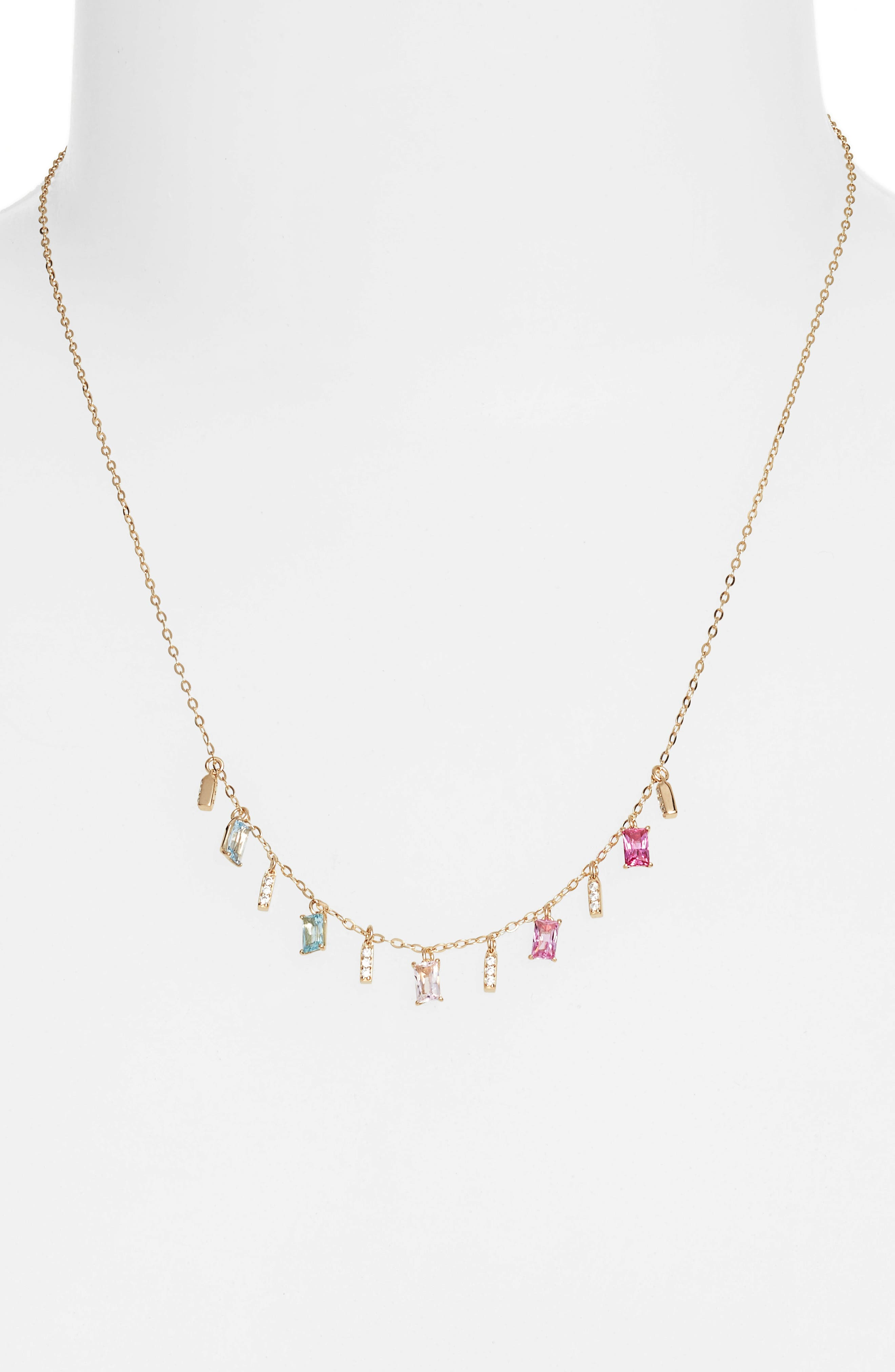 Crystal Drop Frontal Necklace,                         Main,                         color, Gold