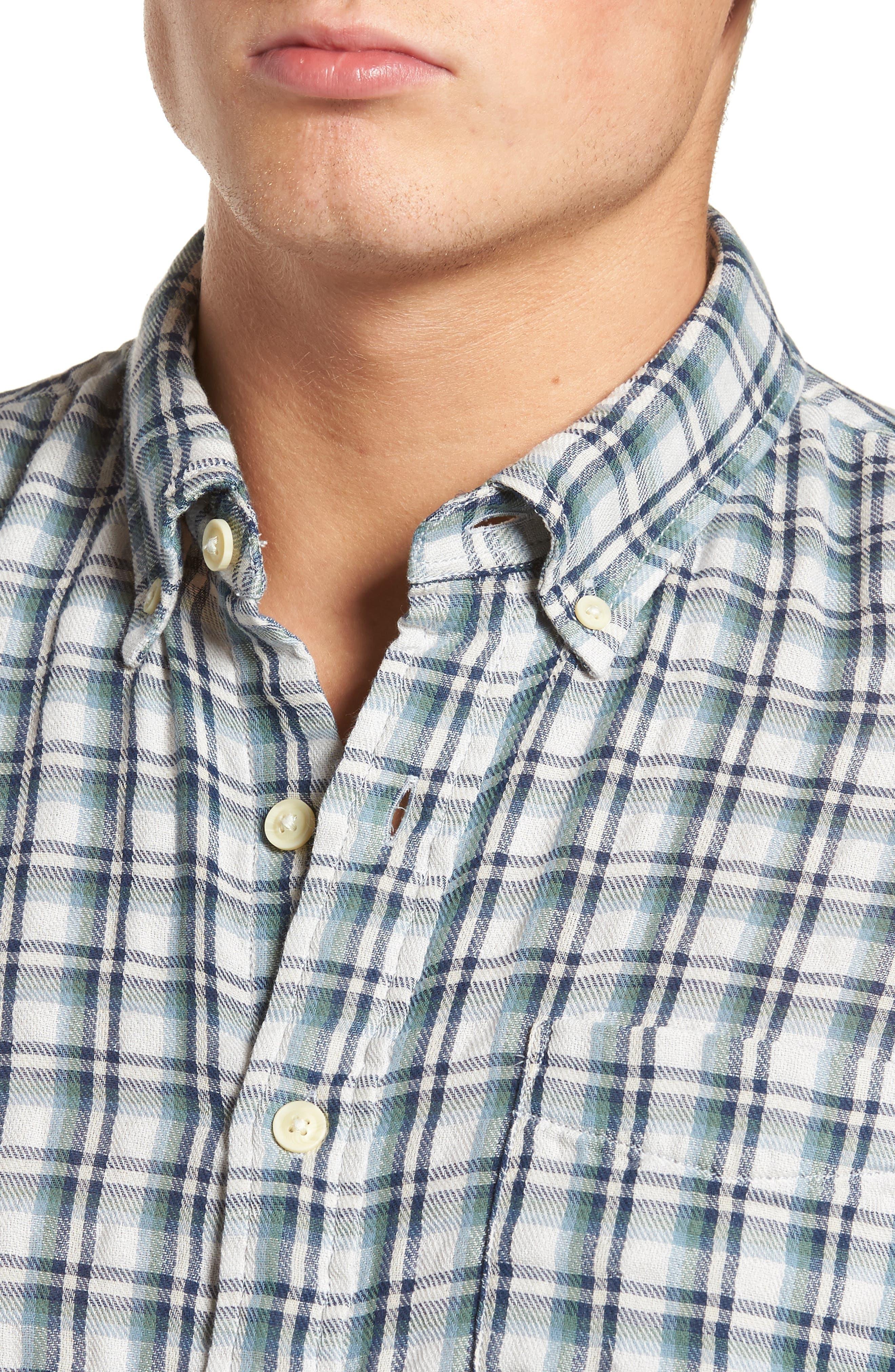 Boulder Double Cloth Plaid Sport Shirt,                             Alternate thumbnail 4, color,                             Cream Green Navy