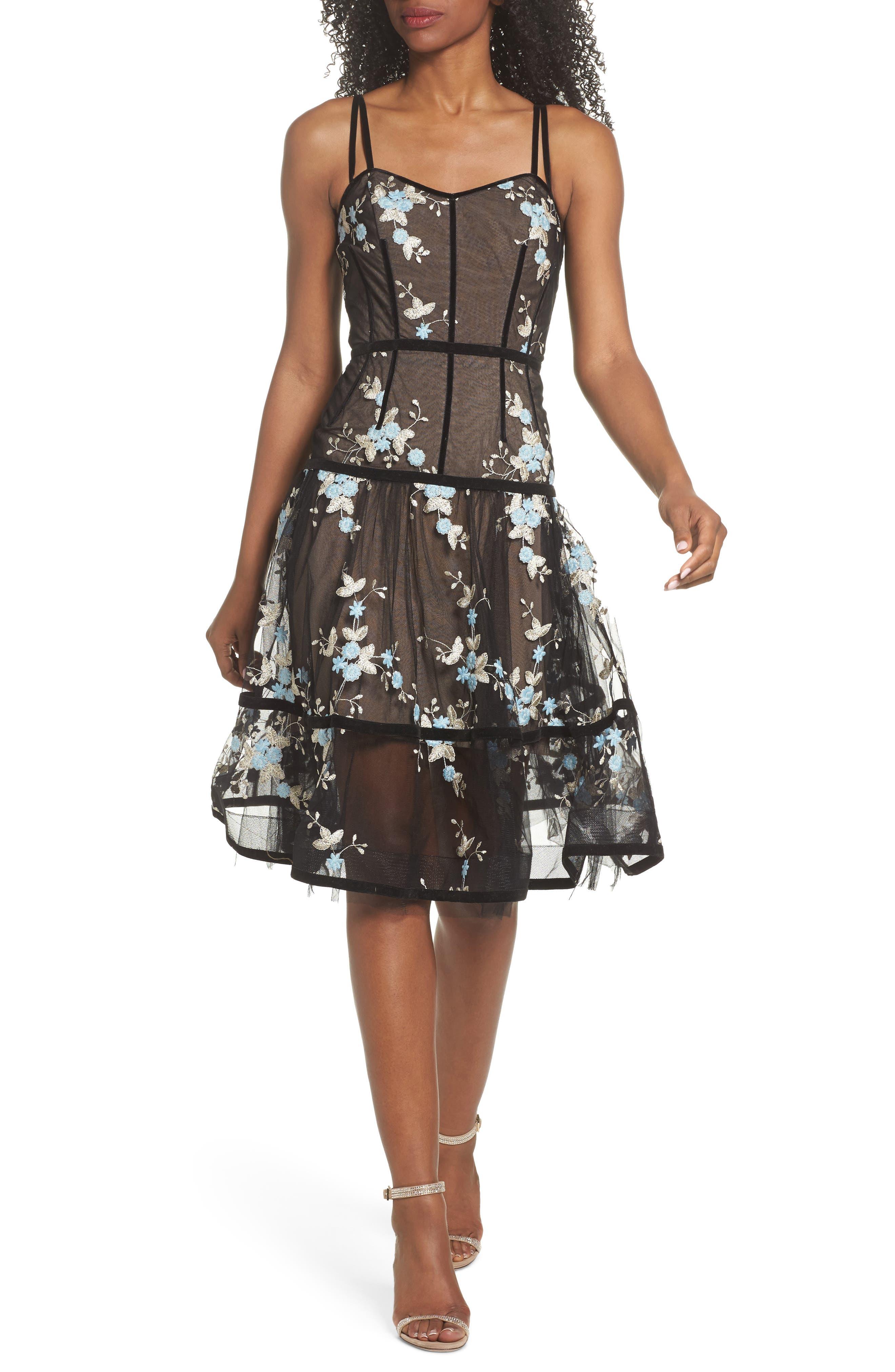 Marietta Fit & Flare Dress,                         Main,                         color, Multicolor