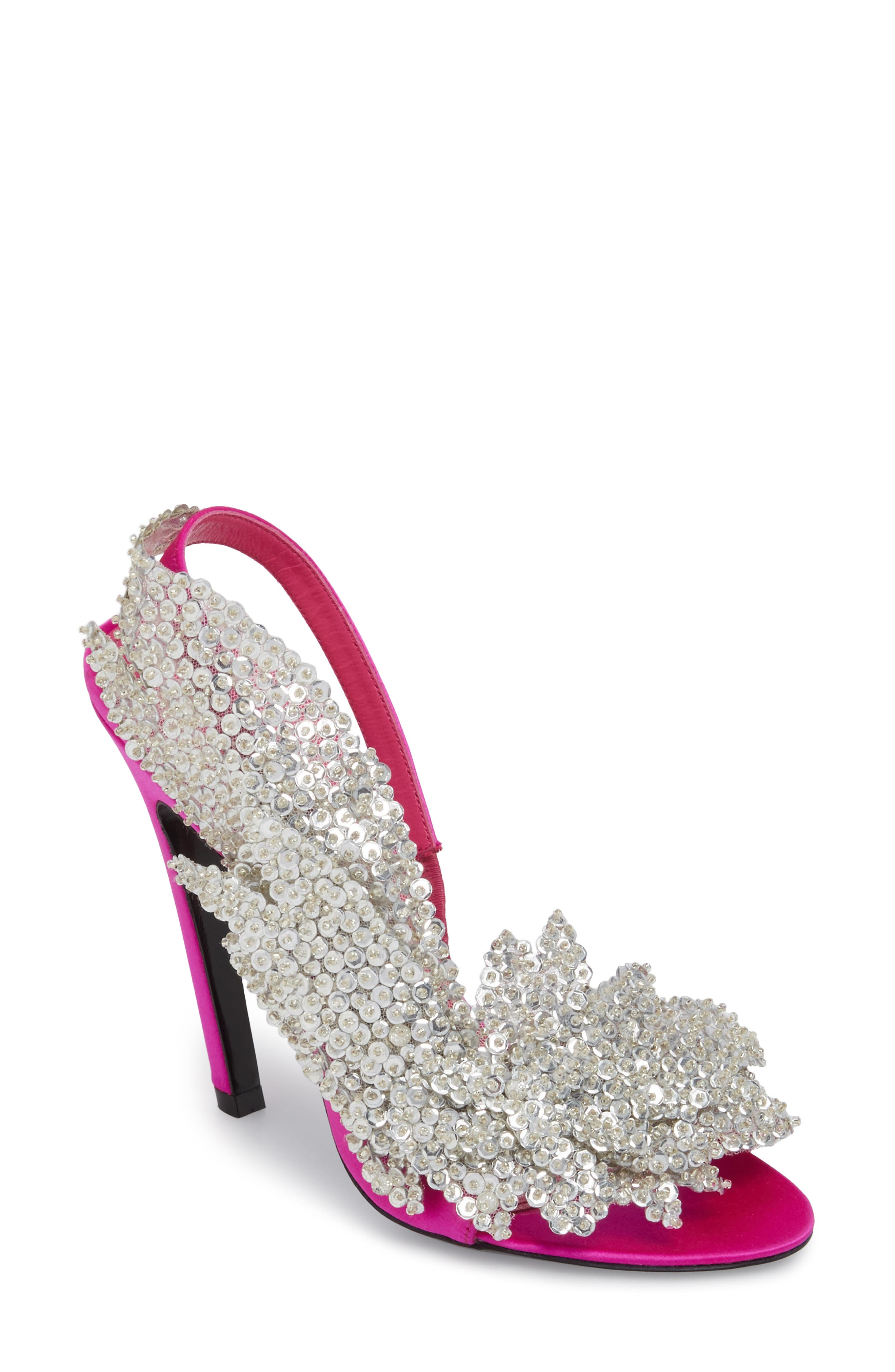 Embellished Slingback Sandal,                         Main,                         color, Rose Fuchsia/ Crystal