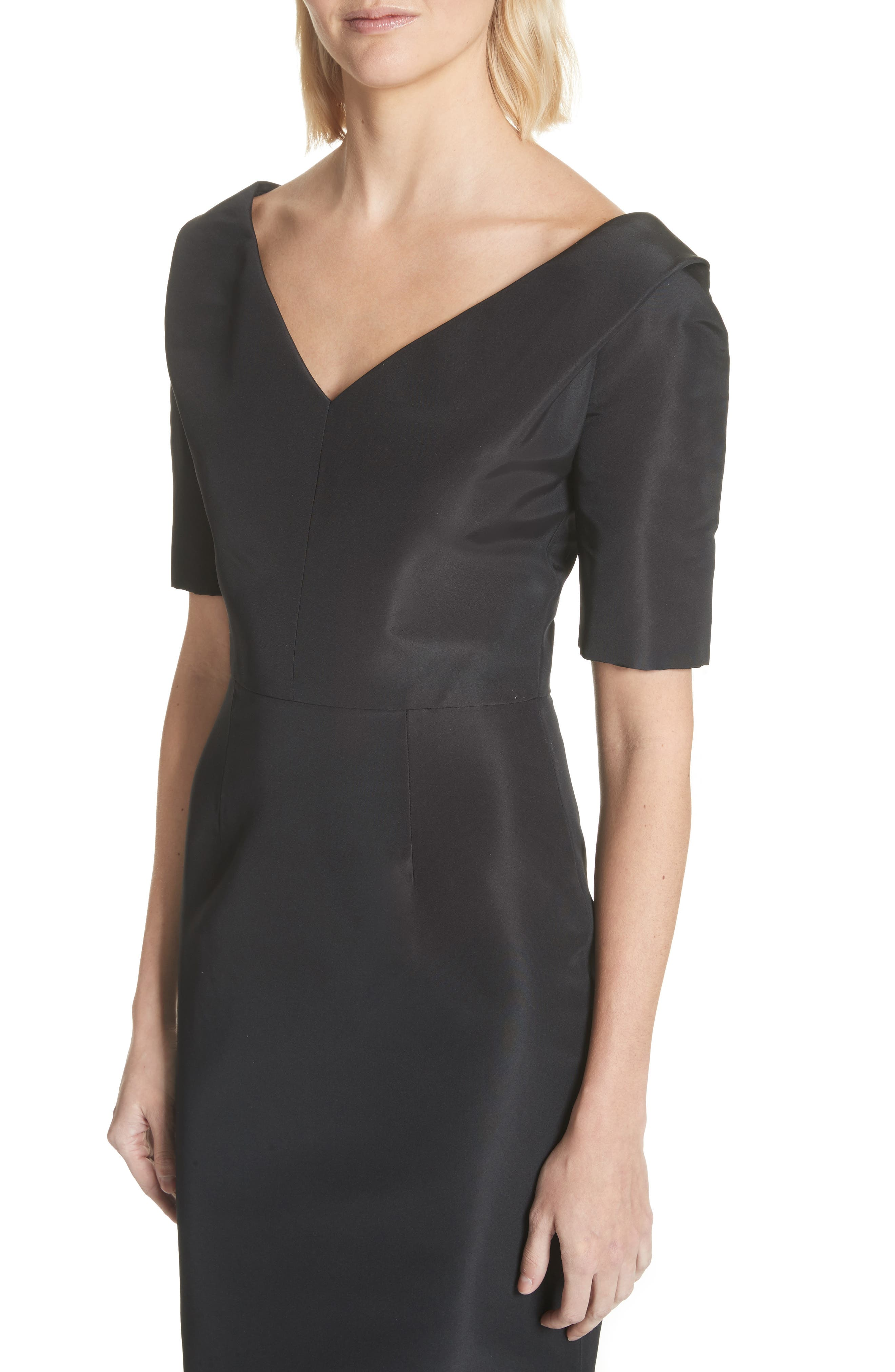 Silk Faille Mermaid Gown,                             Alternate thumbnail 4, color,                             Black