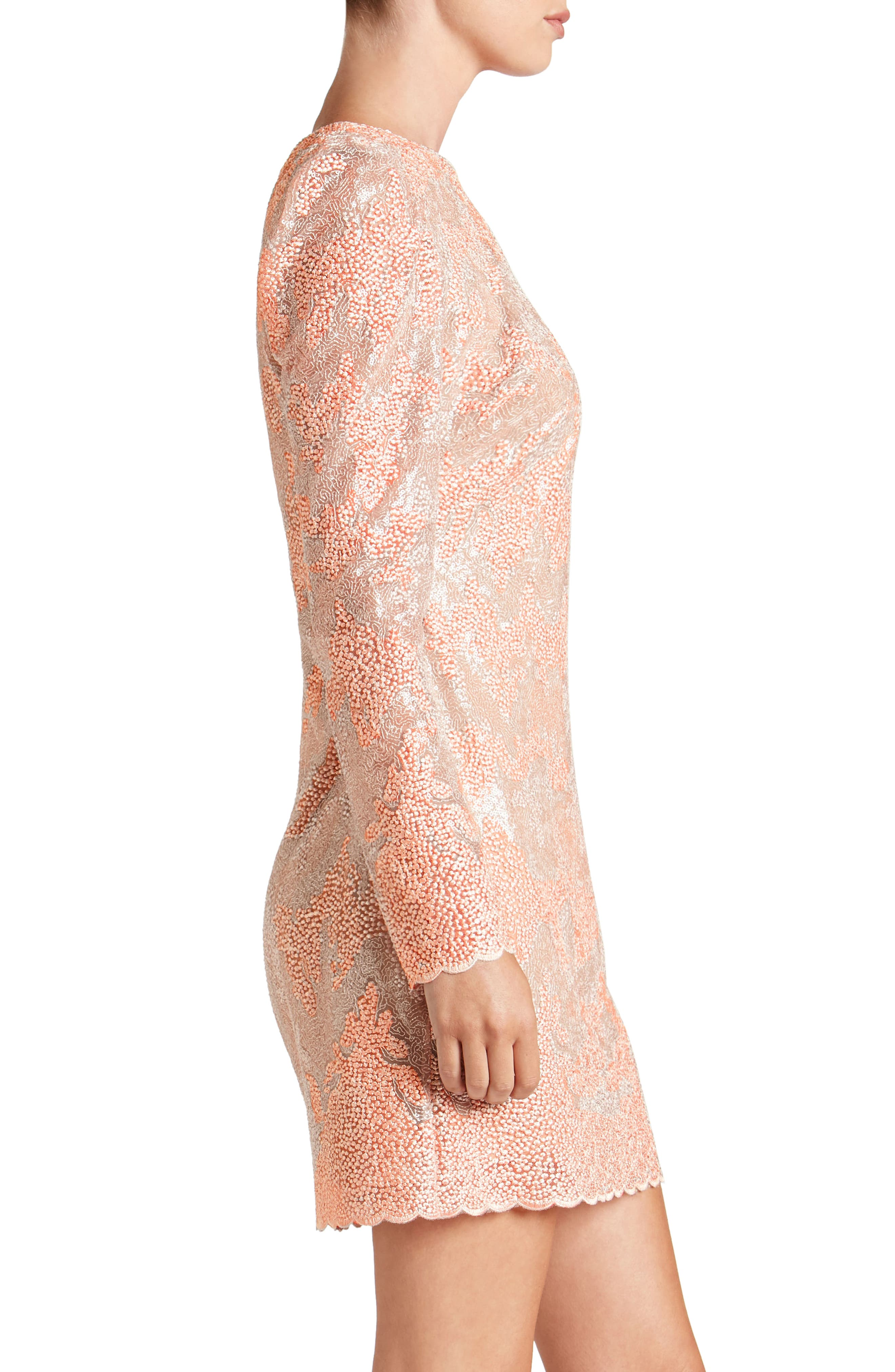 Aubry Sequin Embellished Shift Dress,                             Alternate thumbnail 3, color,                             Blush