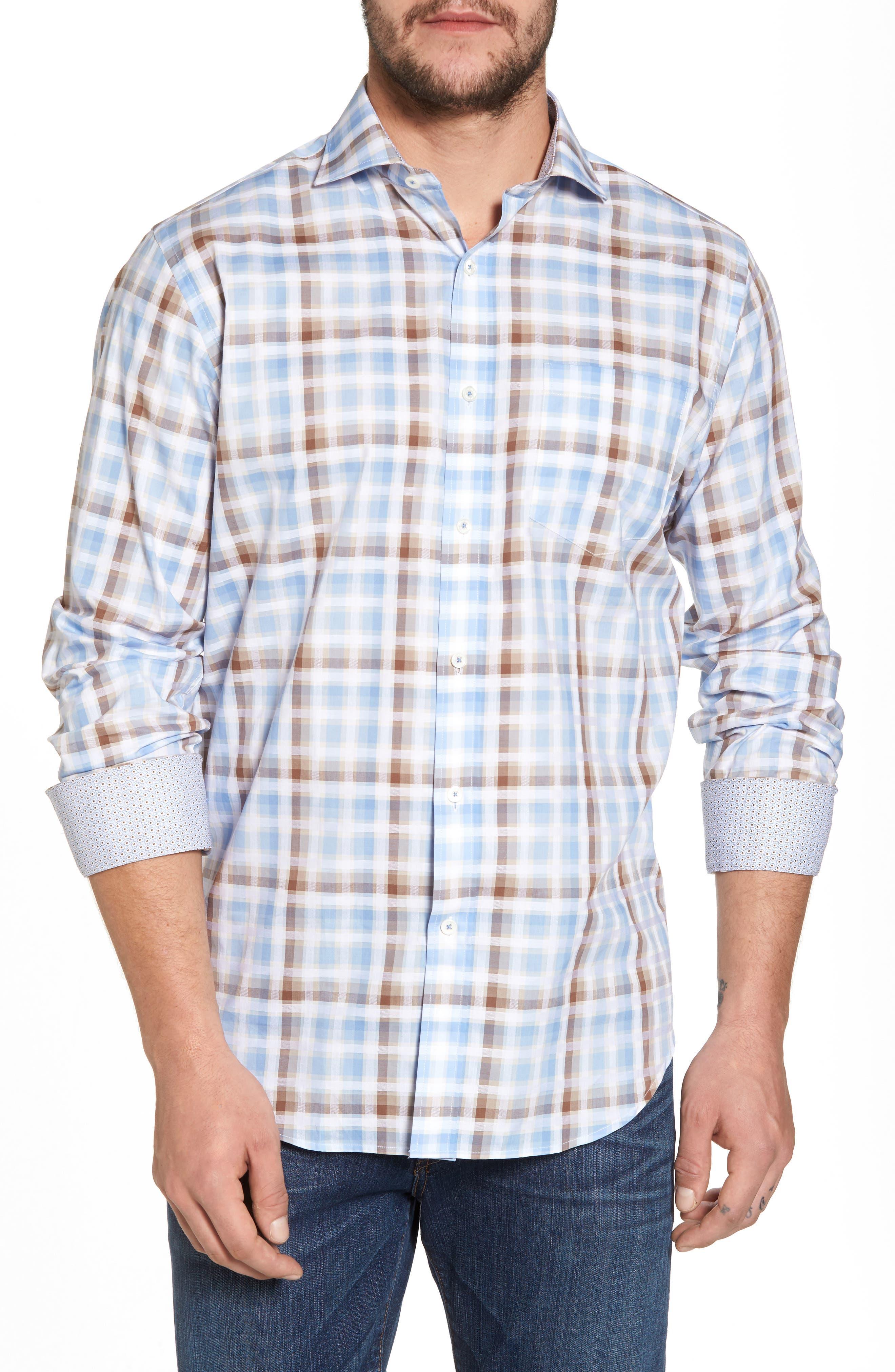 Regular Fit Check Sport Shirt,                         Main,                         color, Mocha