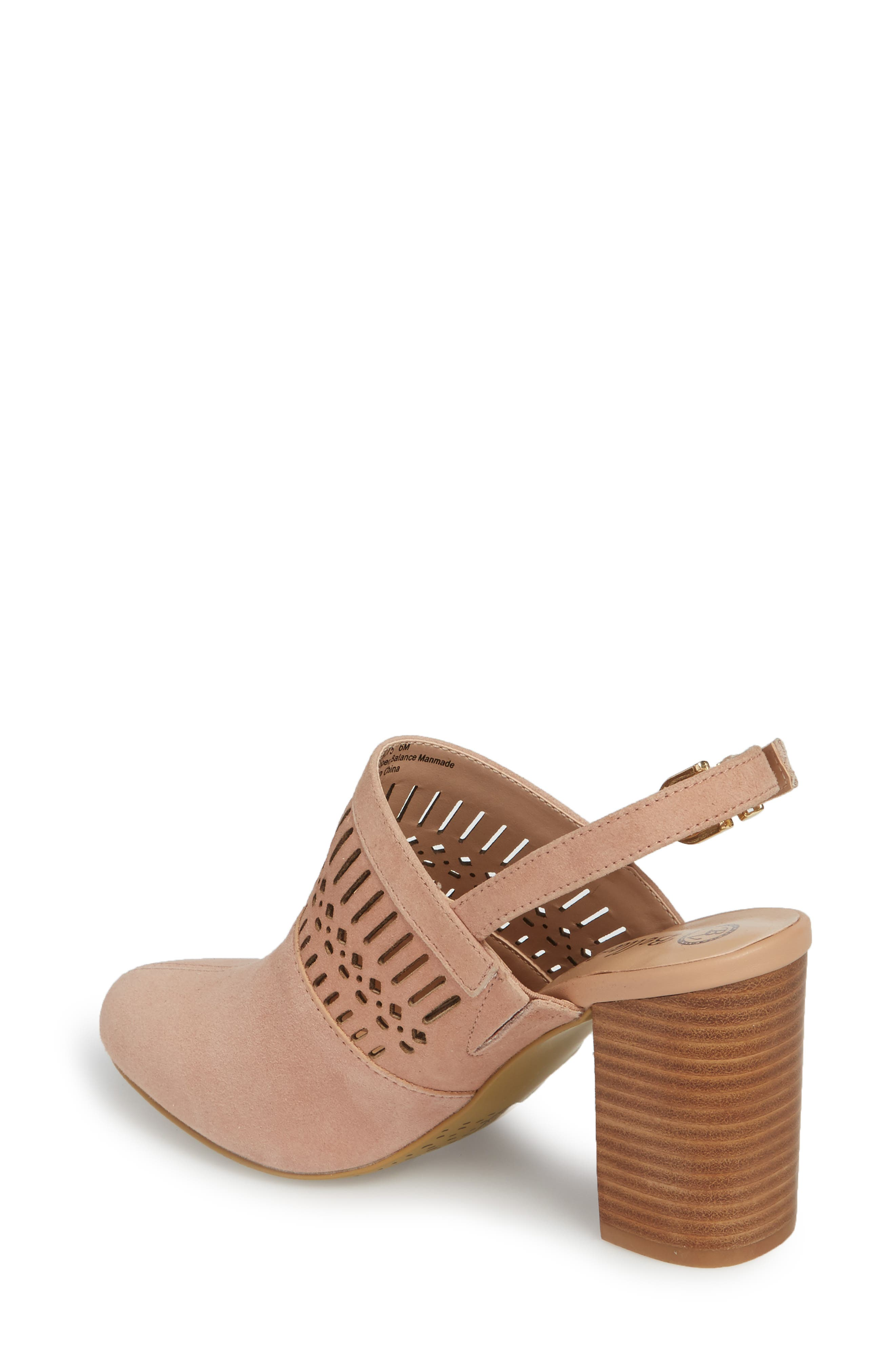 Nox Slingback Perforated Pump,                             Alternate thumbnail 2, color,                             Blush Suede